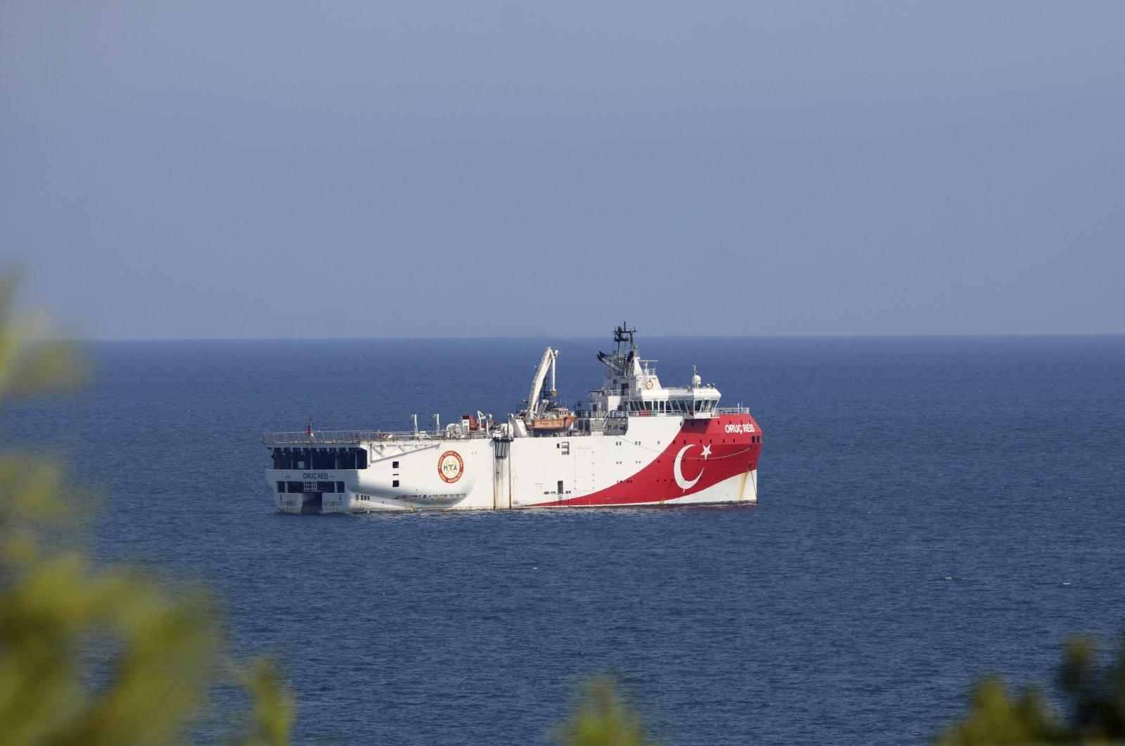 Turkey's research vessel Oruç Reis anchors off the coast of Antalya on the Mediterranean, Turkey, Sept. 13, 2020. (AP Photo)