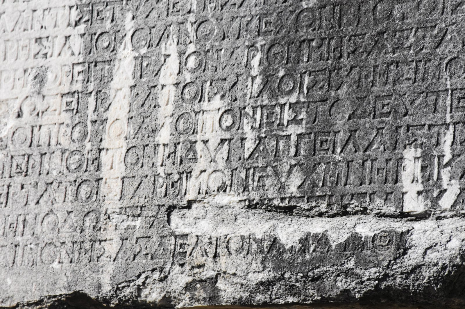 A Latin inscription is seen in the ancient city of Stratonikeia in Muğla province, Turkey, March 9, 2021. (AA Photo)