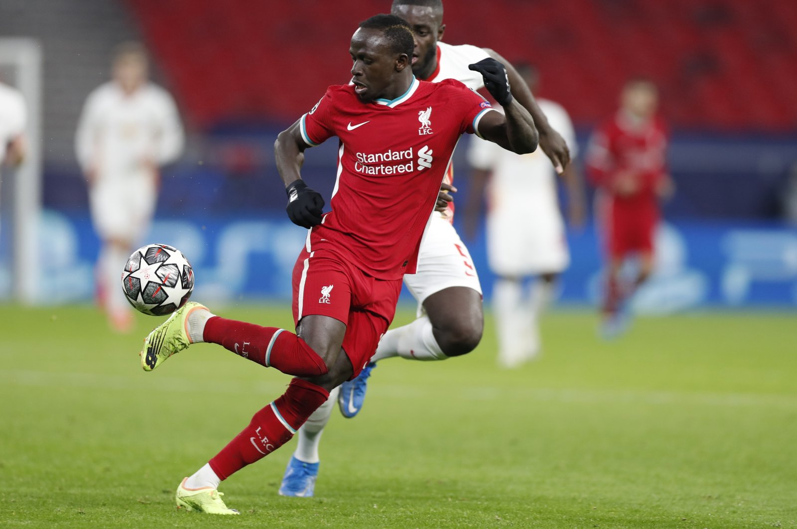 Liverpool's Sadio Mane in action against RB Leipzig during the Champions League round of 16, second leg match at the Puskas Arena, Budapest, Hungary, March 10, 2021. (AP Photo)