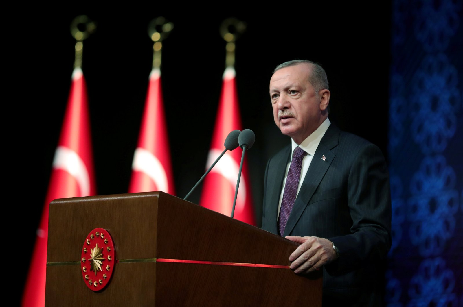 President Recep Tayyip Erdoğan speaks during a meeting to unveil the Human Rights Action Plan, in the capital Ankara, Turkey, March 2, 2021. (Reuters Photo)