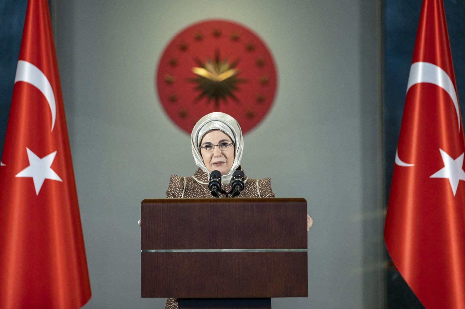 First lady Emine Erdoğan speaks in the capital Ankara, Turkey, March 8, 2021. (DHA Photo)