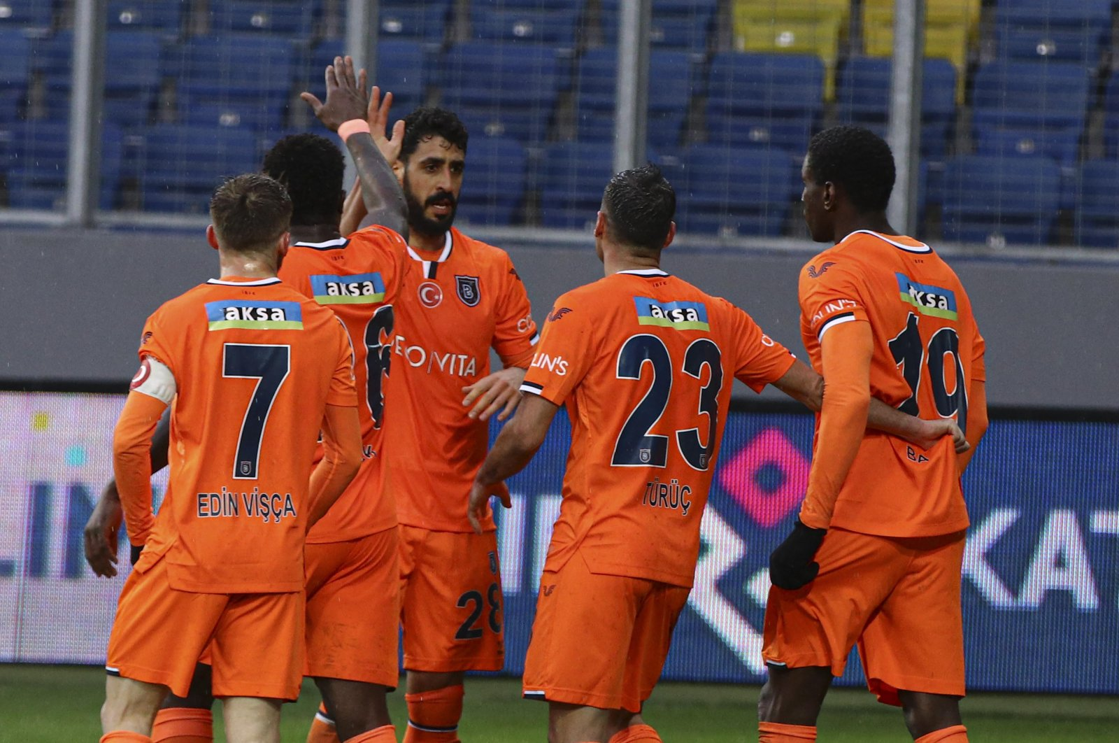 Başakşehir players celebrate a goal against Gençlerbirliği in a Turkish Süper Lig match, Ankara, Turkey, March 7, 2021. (DHA Photo)