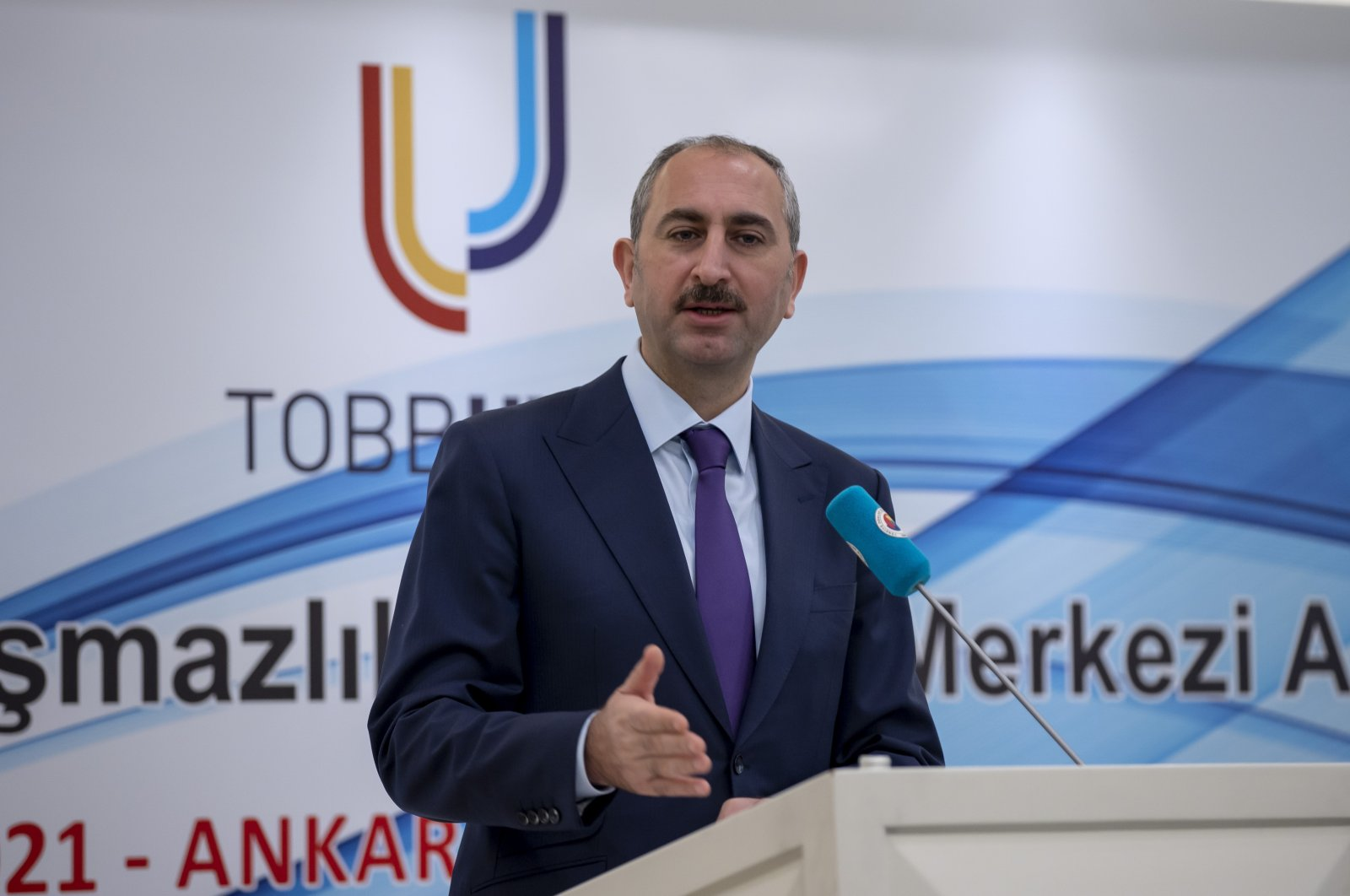 Justice Minister Abdulhamit Gül speaks at an event organized by the Union of Chambers and Commodity Exchanges of Turkey (TOBB) in the capital Ankara, March 11, 2021. (AA Photo)