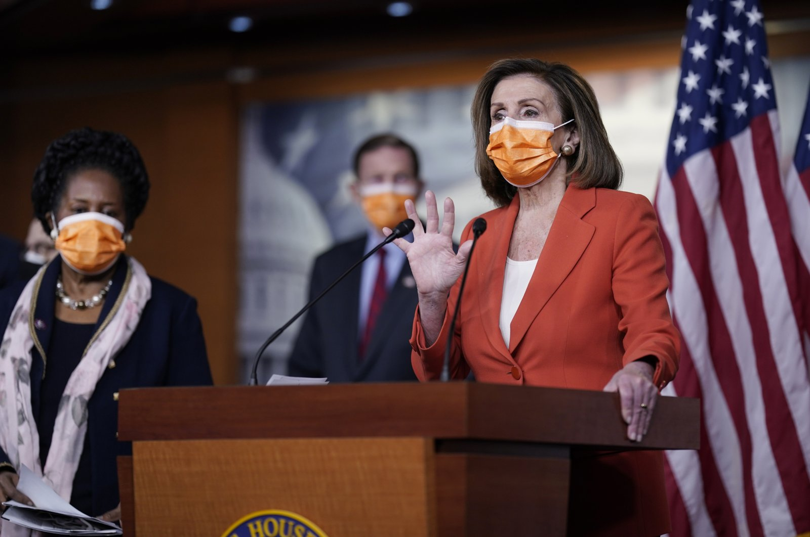 Speaker of the House Nancy Pelosi (R), holds a news conference on passage of gun violence prevention legislation, as Rep. Sheila Jackson Lee (L), and Sen. Richard Blumenthal, look on, Washington, the U.S., March 11, 2021. (AP Photo)