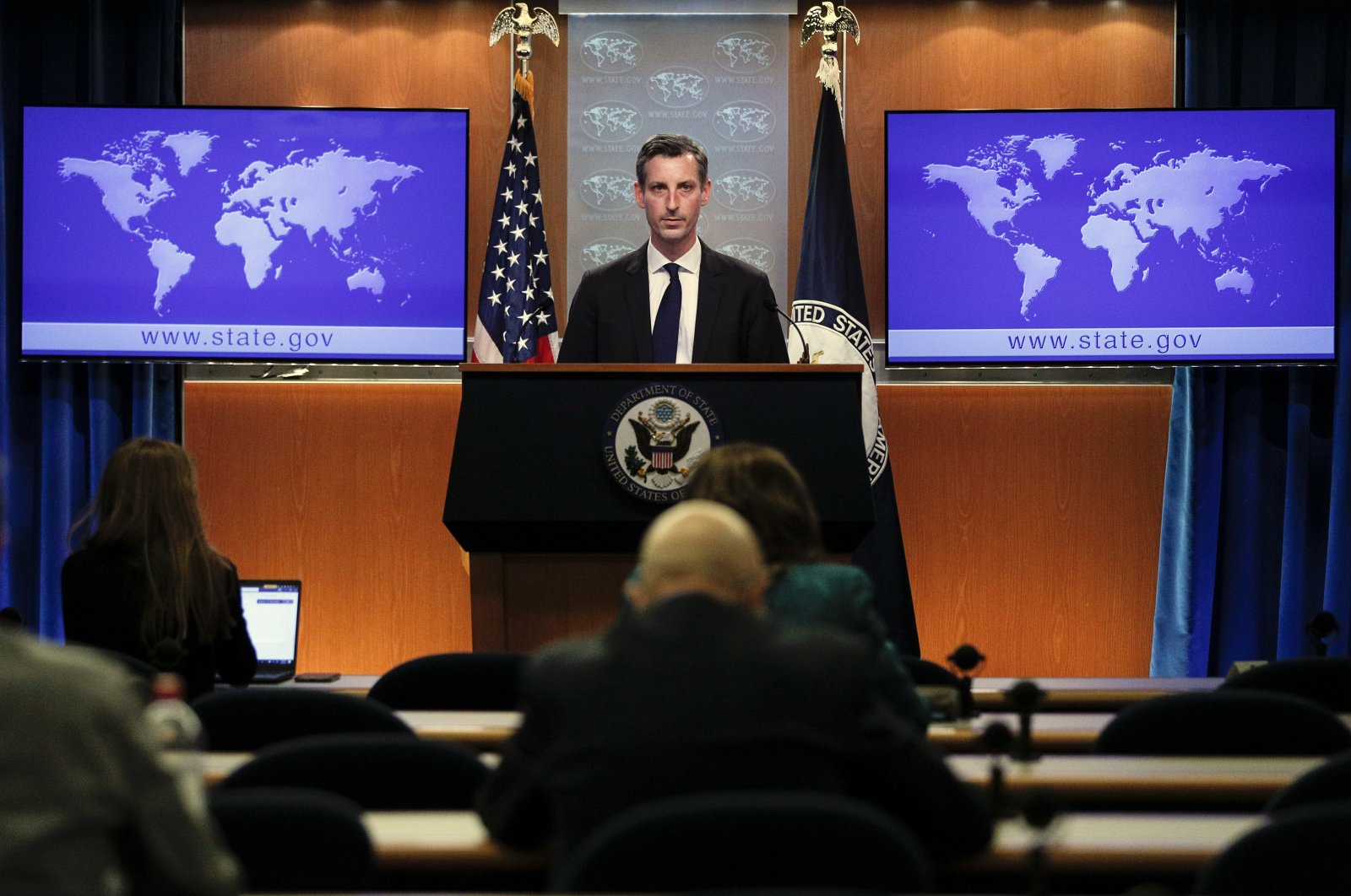 U.S. State Department Spokesperson Ned Price speaks to reporters during a news briefing at the State Department in Washington, the U.S., March 1, 2021. (AP Photo)