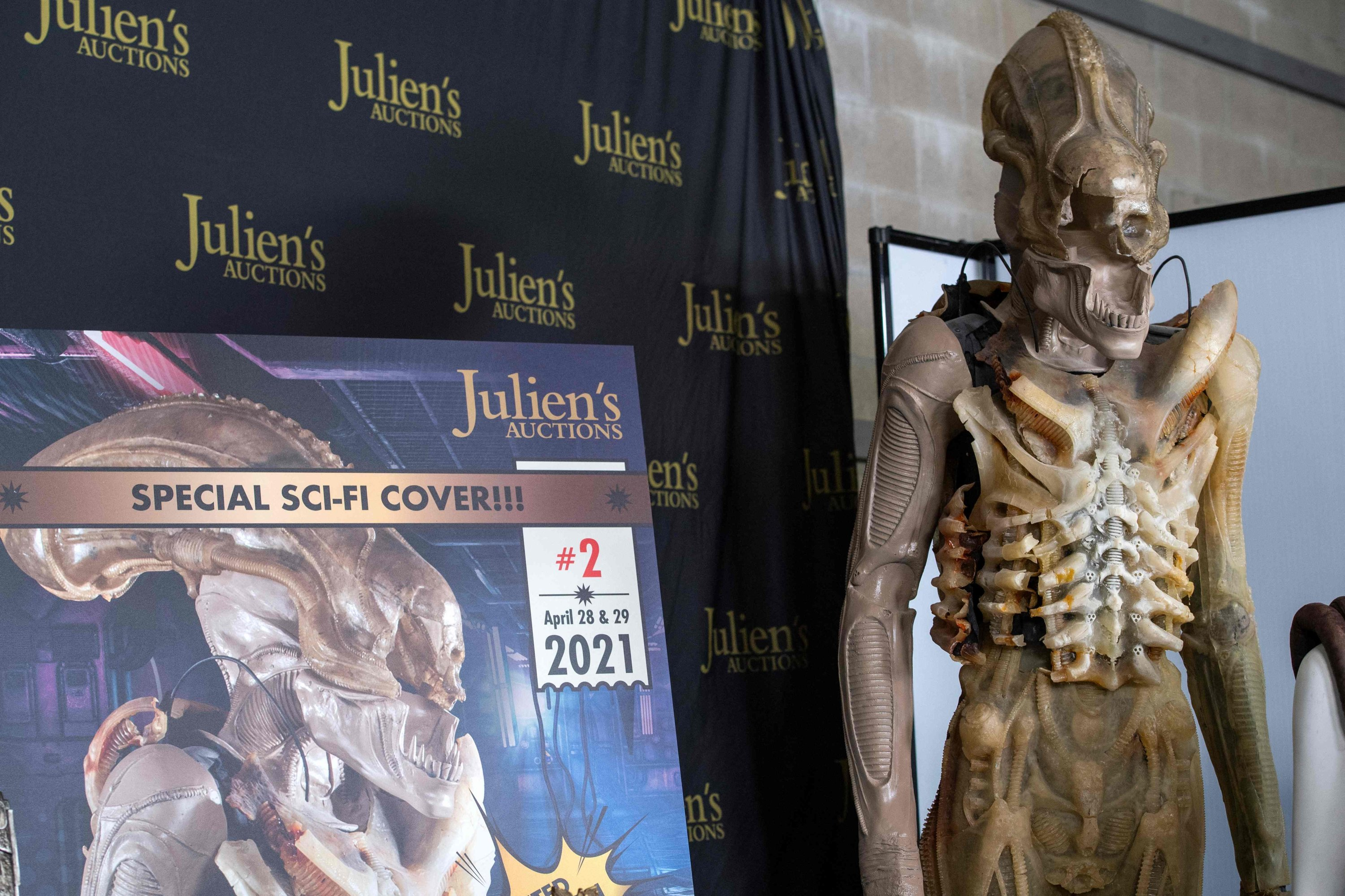 HR Giger's original prototype translucent 'Big Chap' Xenomorph costume from 'Alien' is seen at the preview of Julien's Auctions Hollywood Sci-Fi, Action Fantasy and More auction in Beverly Hills, California, March 10, 2021. (AFP Photo)