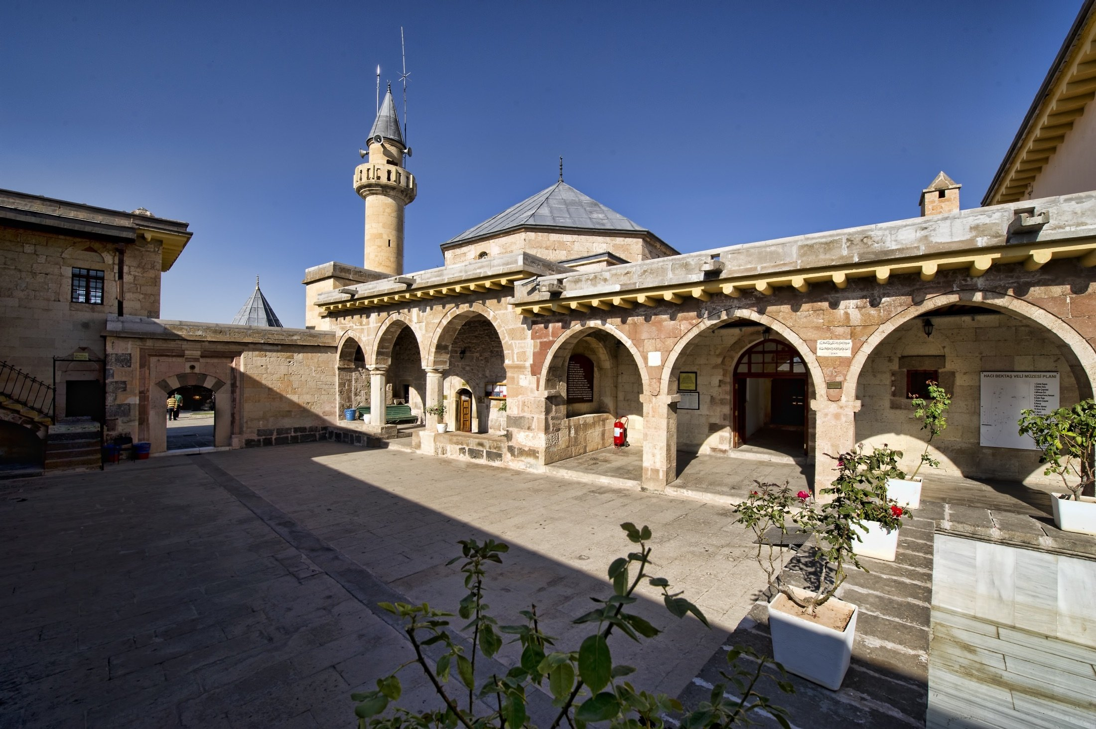 The minaret, mosque and garden of the Hacı Bektaş Veli complex, which also includes the Sufi saint's tomb and a museum, can be seen in Nevşehir, Turkey, Sept. 6, 2011. (Shutterstock Photo)