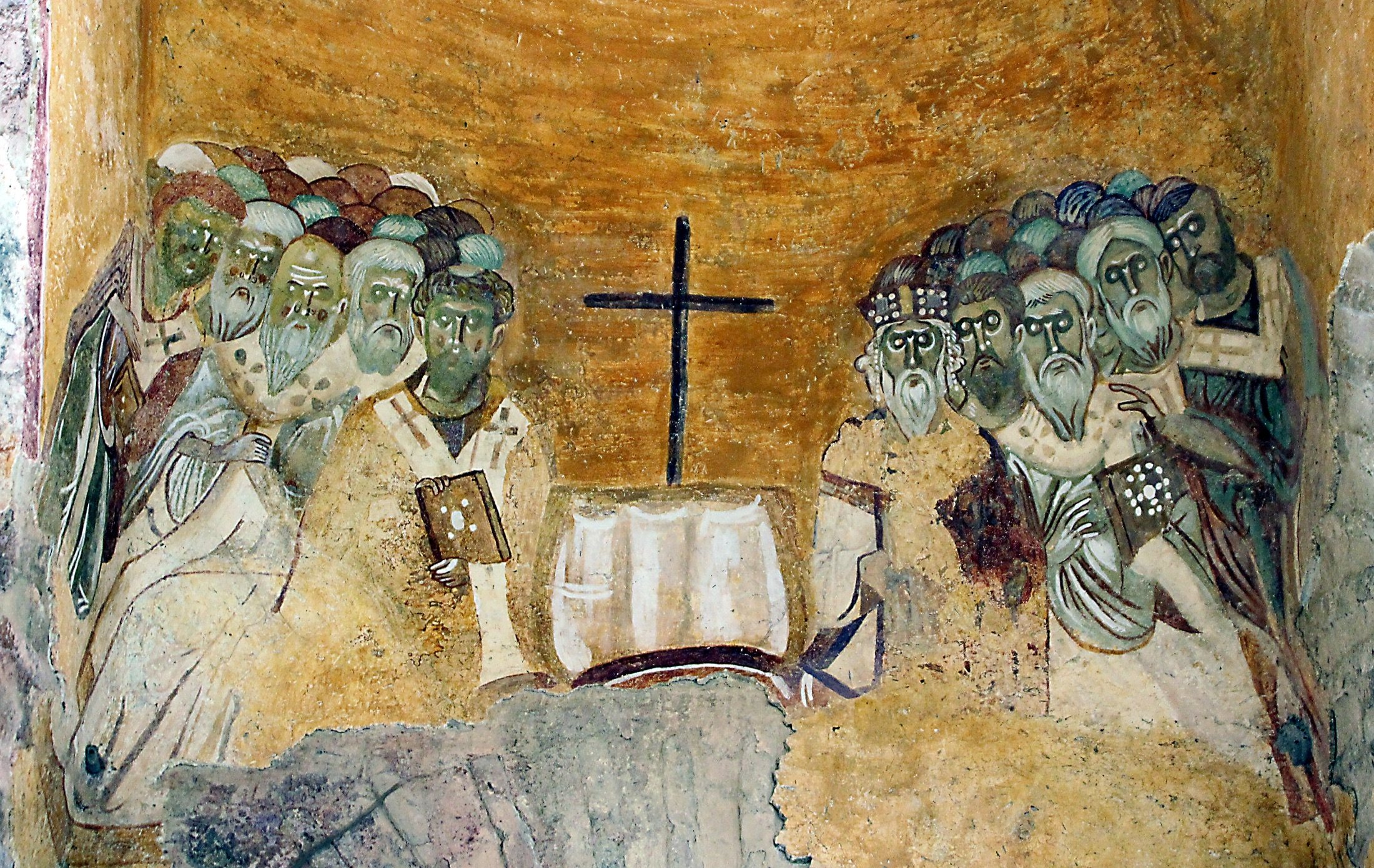 A Byzantine fresco painting depicting the first Council of Nicea on the wall of Saint Nicholas Church, Myra, present-day Demre, Turkey. (Getty Images)