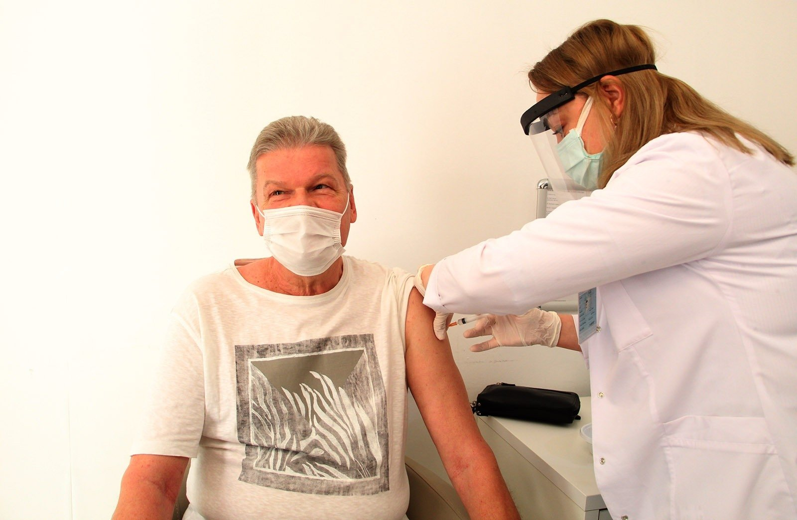 A man gets vaccinated against the coronavirus, in Antalya, southern Turkey, March 5, 2021. (İHA PHOTO)