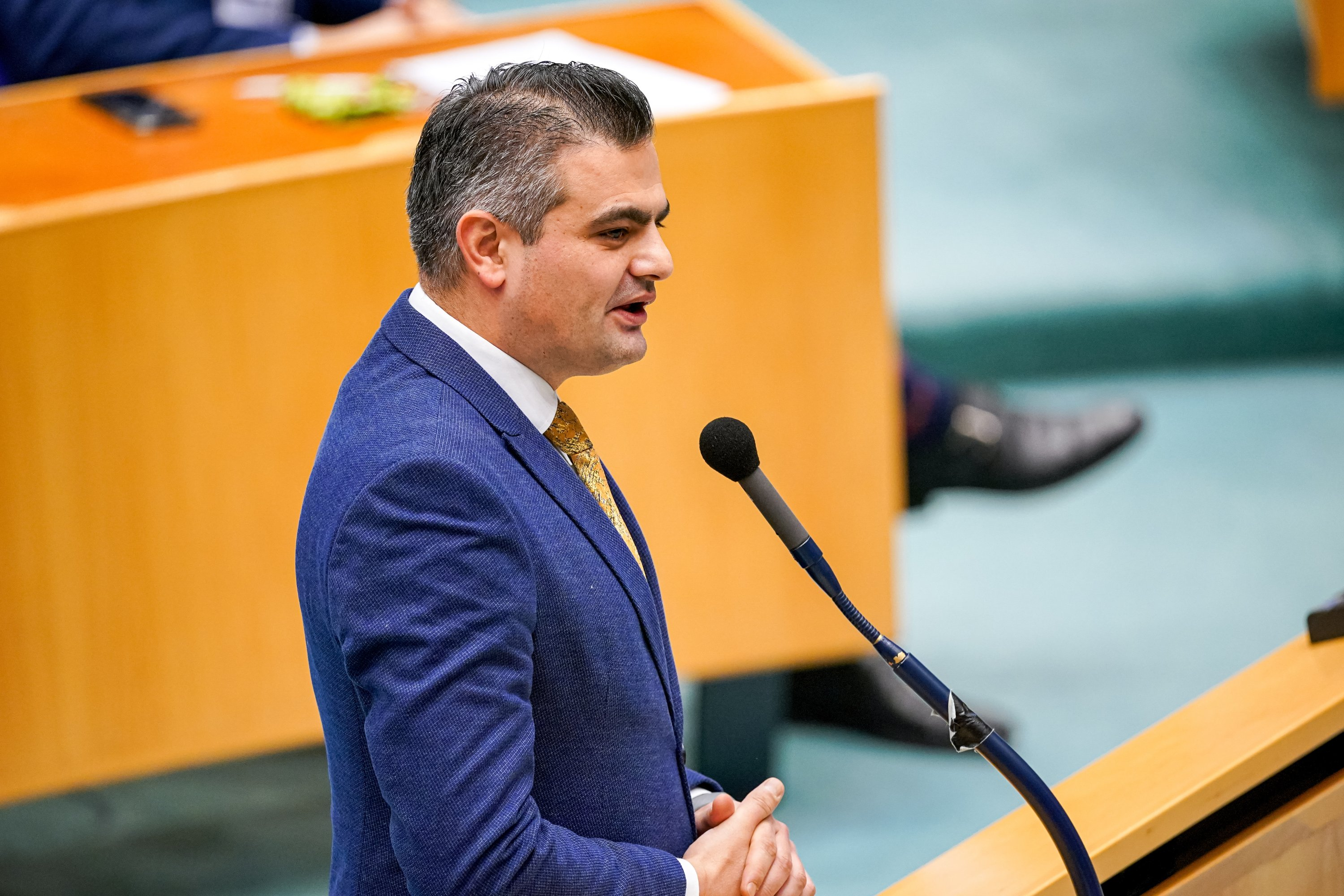 Tunahan Kuzu of DENK seen during the plenary debate in the Tweede kamer parliament on January 12, 2021 in The Hague, Netherlands. (Getty Images)