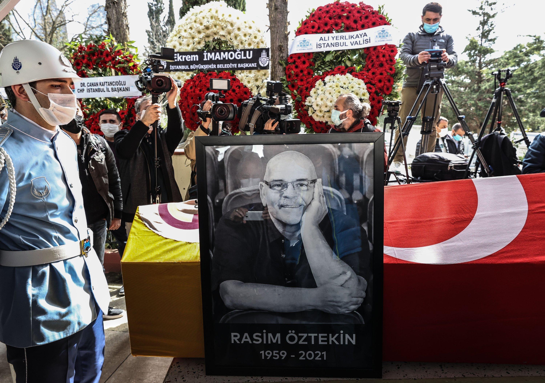A photo from the funeral of Rasim Öztekin, Istanbul, Turkey, March 10, 2021.