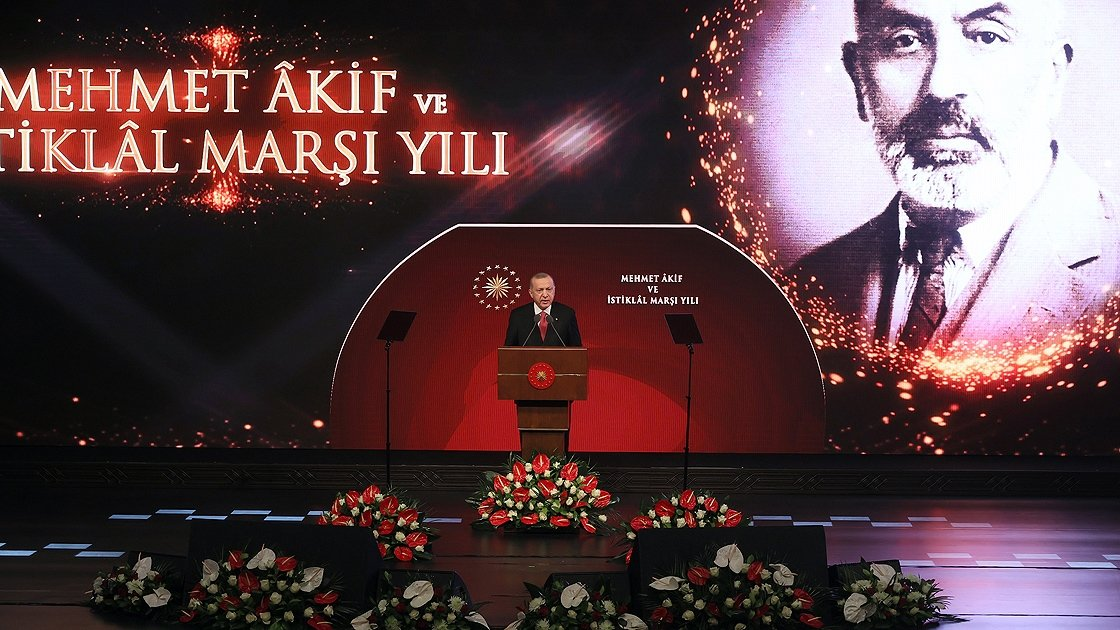 President Recep Tayyip Erdoğan speaks at the memorial event at the Beştepe National Congress and Culture Center, Ankara, Turkey, March 11, 2021. (AA Photo)