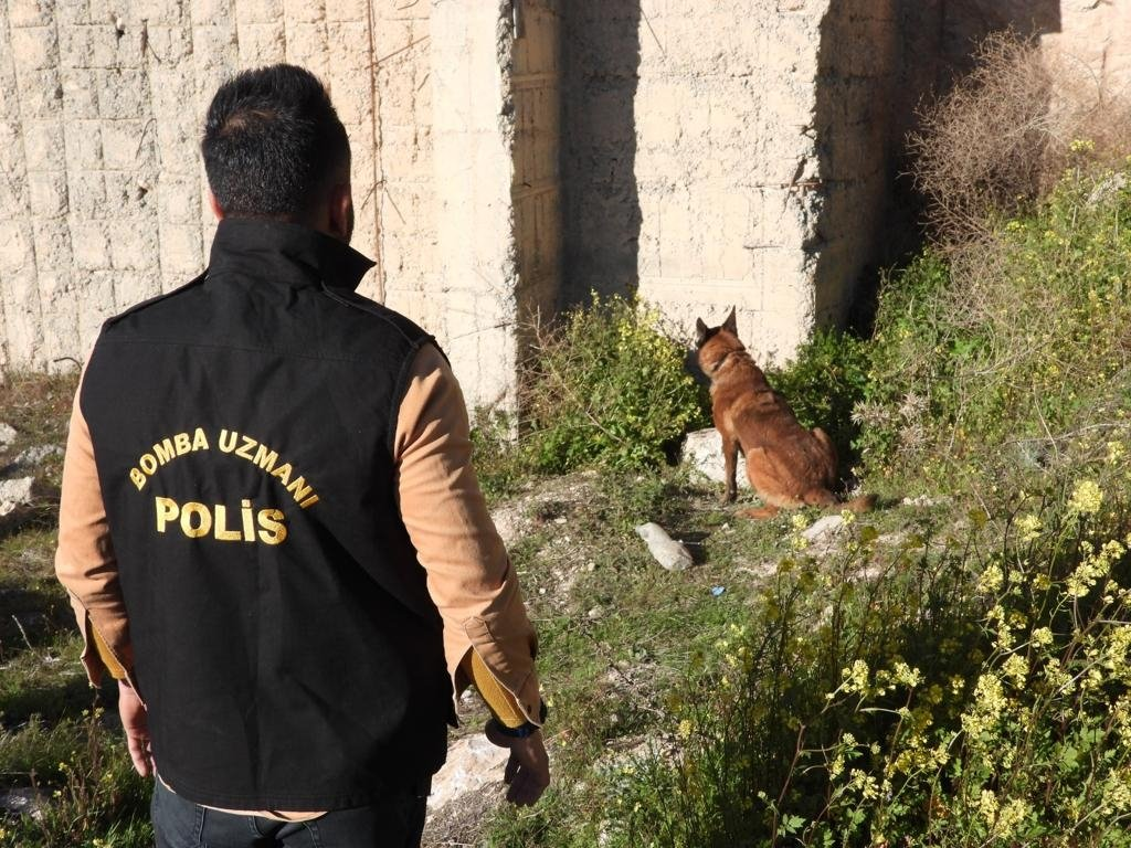A bomb disposal expert participates in a detonating operation with a police dog near the Şanlıurfa-Adıyaman road on Friday, March 12, 2021 (Interior Ministry Handout)