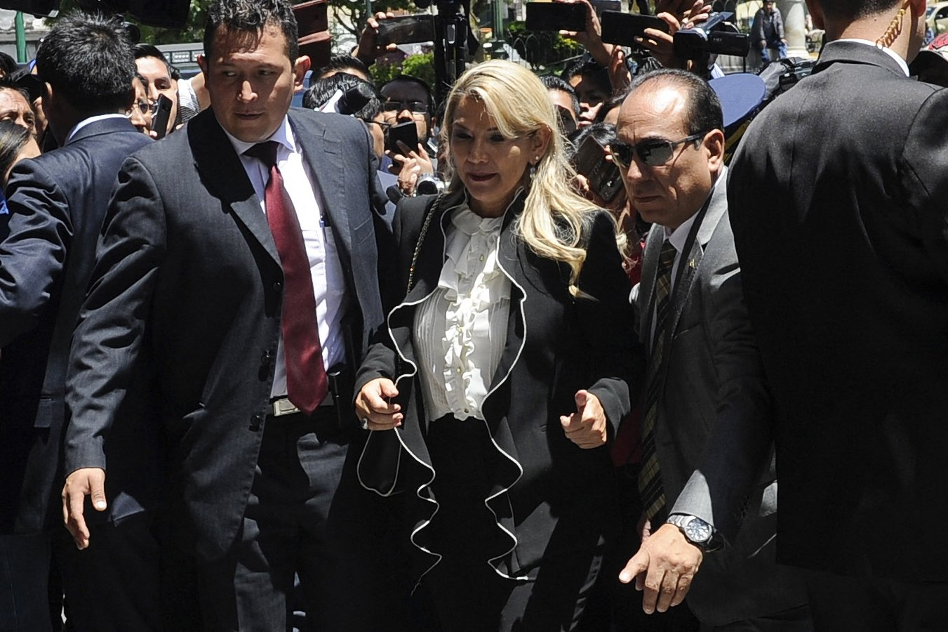 Bolivian interim President Jeanine Anez arrives at Quemado presidential palace in La Paz on Nov. 21, 2019. (AFP File Photo)