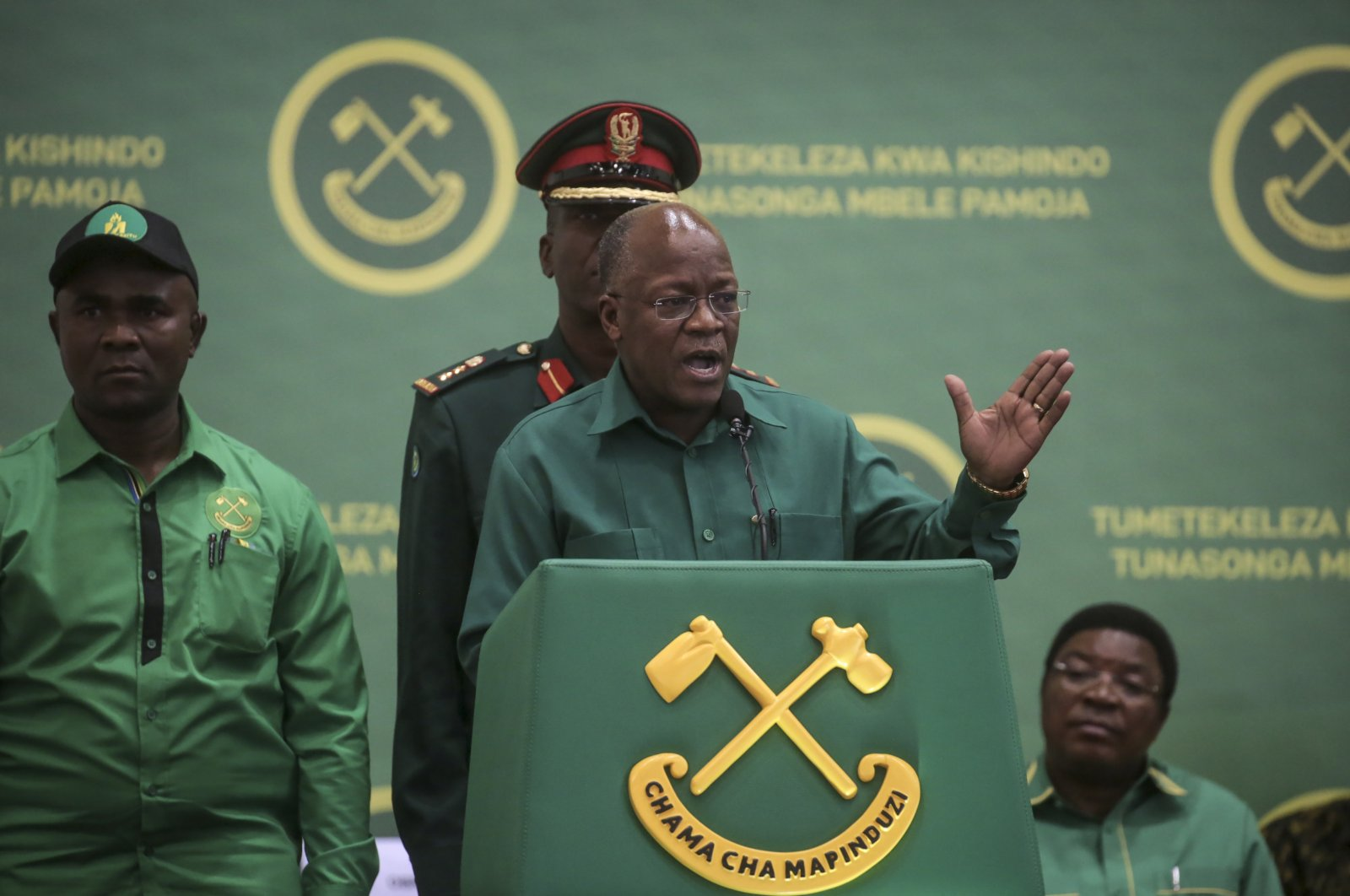 Tanzania's President John Magufuli speaks at the national congress of his ruling Chama cha Mapinduzi (CCM) party in Dodoma, Tanzania, July 11, 2020. (AP Photo)