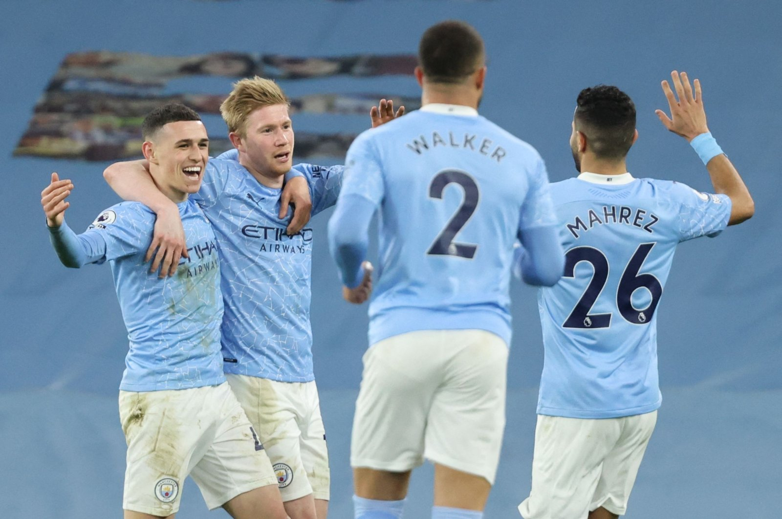 Manchester City players celebrate a goal during a Premier League match against Southampton at the Etihad Stadium in Manchester, England, March 10, 2021. (AFP Photo)