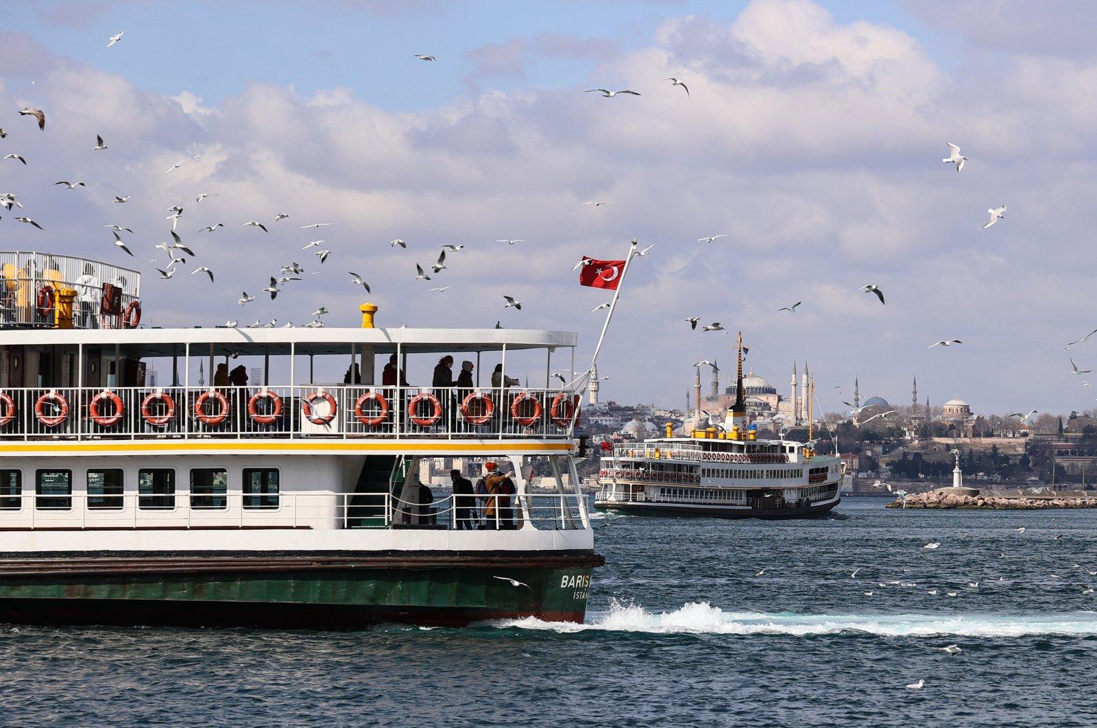 Ferries cruise on the Bosporus amid the coronavirus restrictions, Istanbul, Turkey,Feb. 28, 2021. (AA Photo)