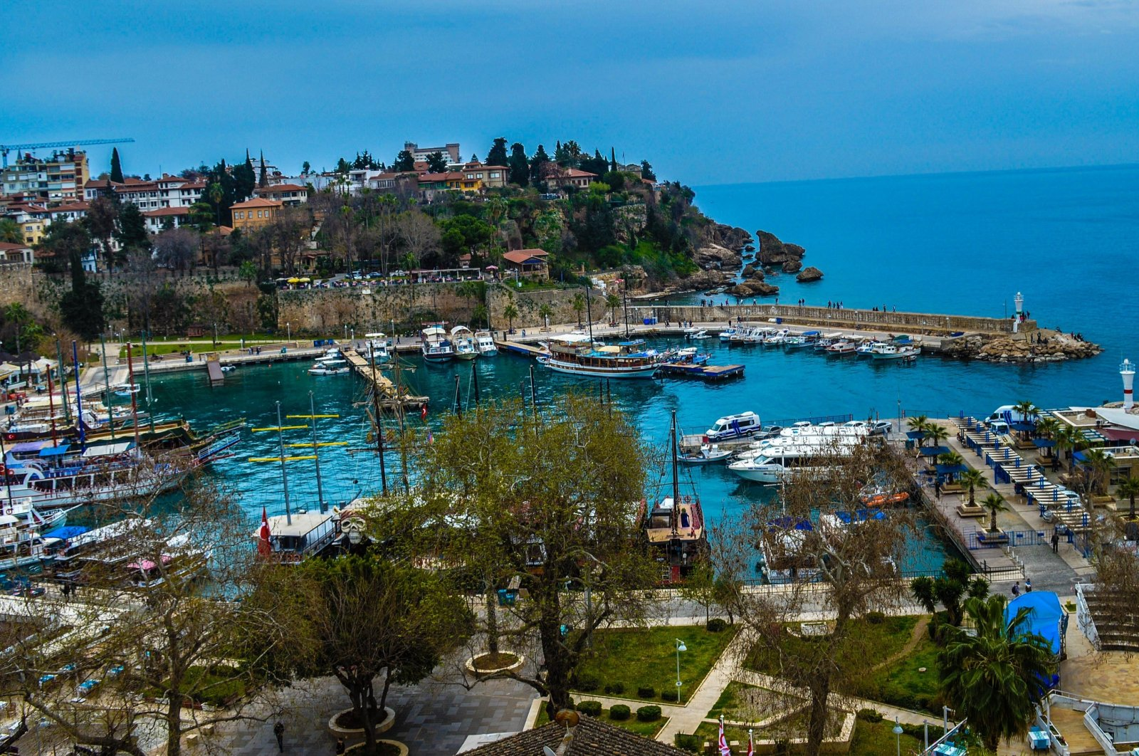 Boats and yachts are docked in a marina, Antalya, southern Turkey, March 9, 2021. (Photo by Getty Images)