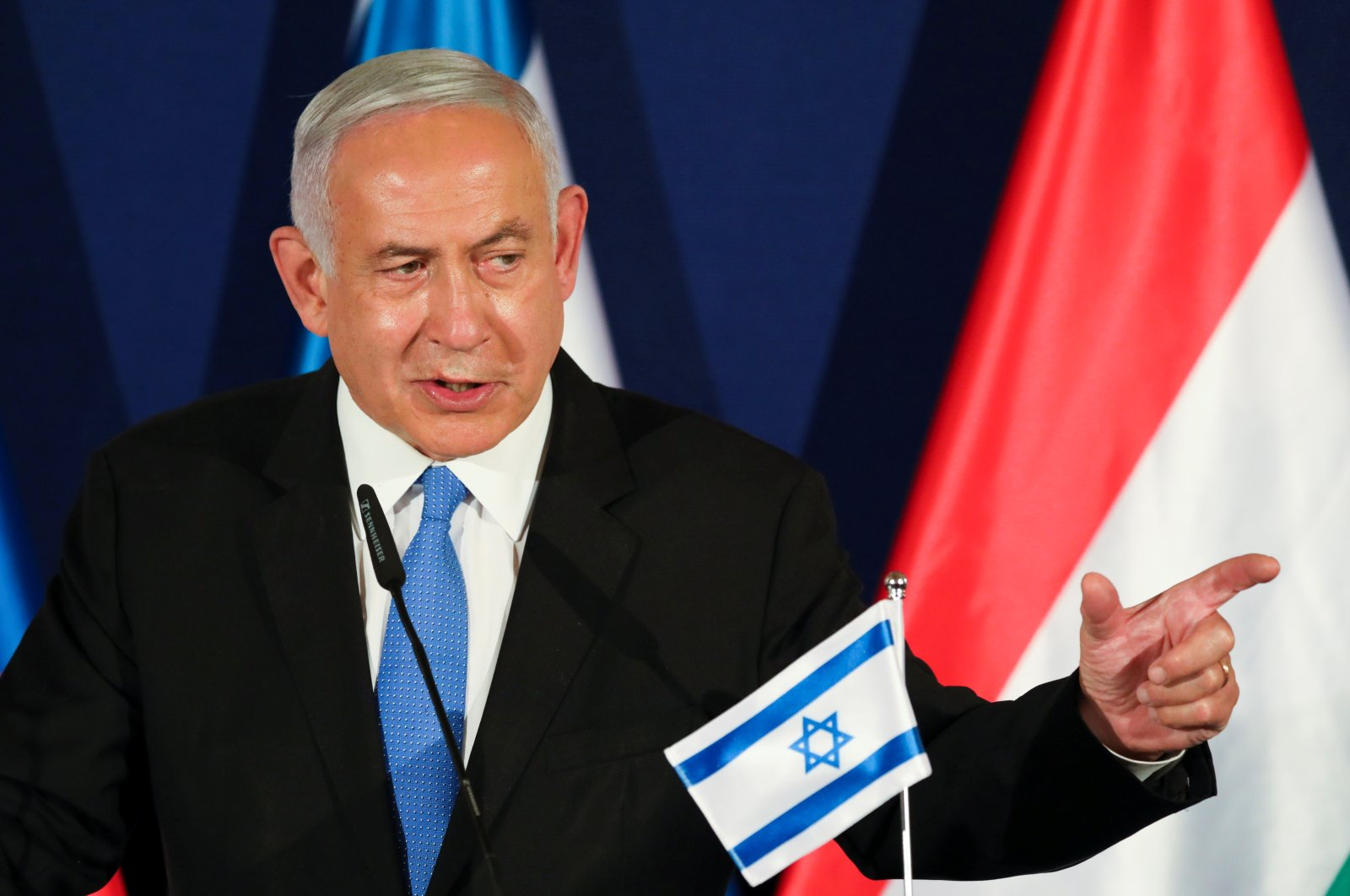 Israeli Prime Minister Benjamin Netanyahu gestures as he delivers a joint statement with Hungarian Prime Minister Viktor Orban and Czech Prime Minister Andrej Babis during their meeting in Jerusalem, Israel, March 11, 2021. (REUTERS)