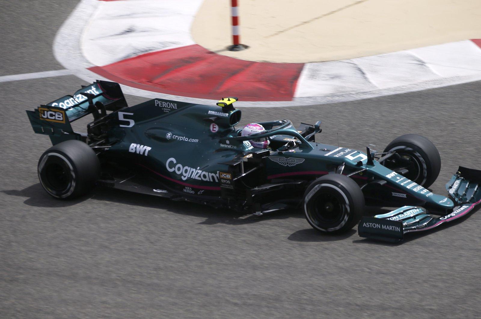 Aston Martin's Sebastian Vettel in action during pre-season testing at the Bahrain International Circuit, in Sakhir, Bahrain, March 12, 2021. (Reuters Photo)