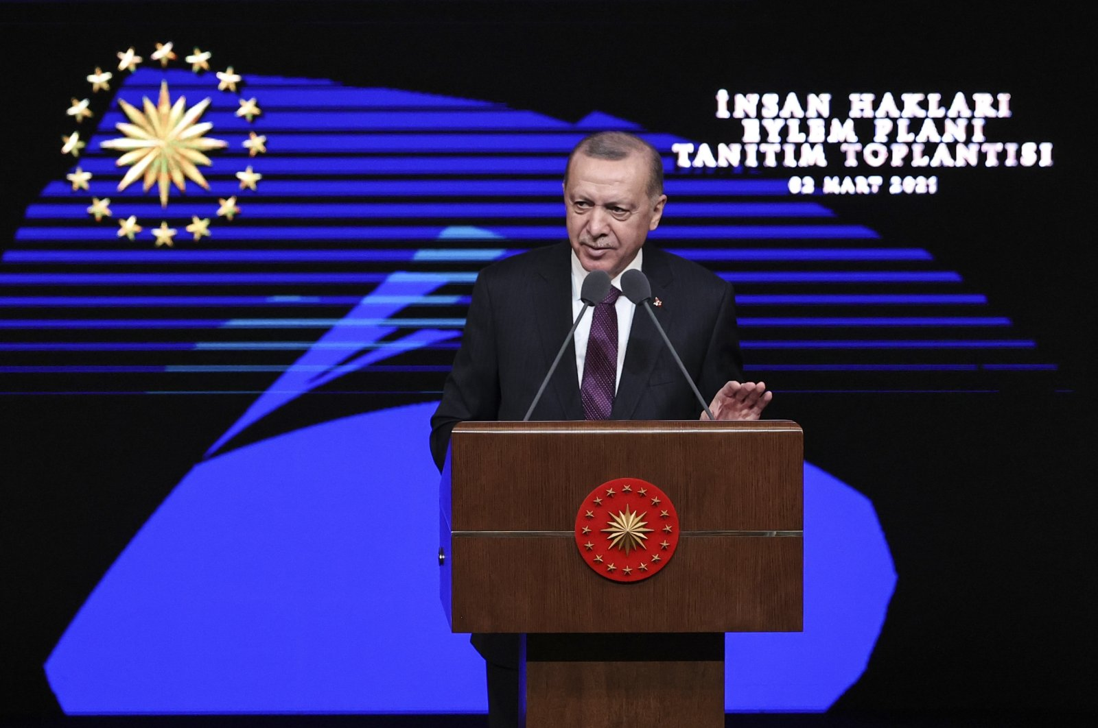 President Recep Tayyip Erdoğan announces the Human Rights Action Plan in the capital Ankara, Turkey, March 3, 2021. (AA Photo)