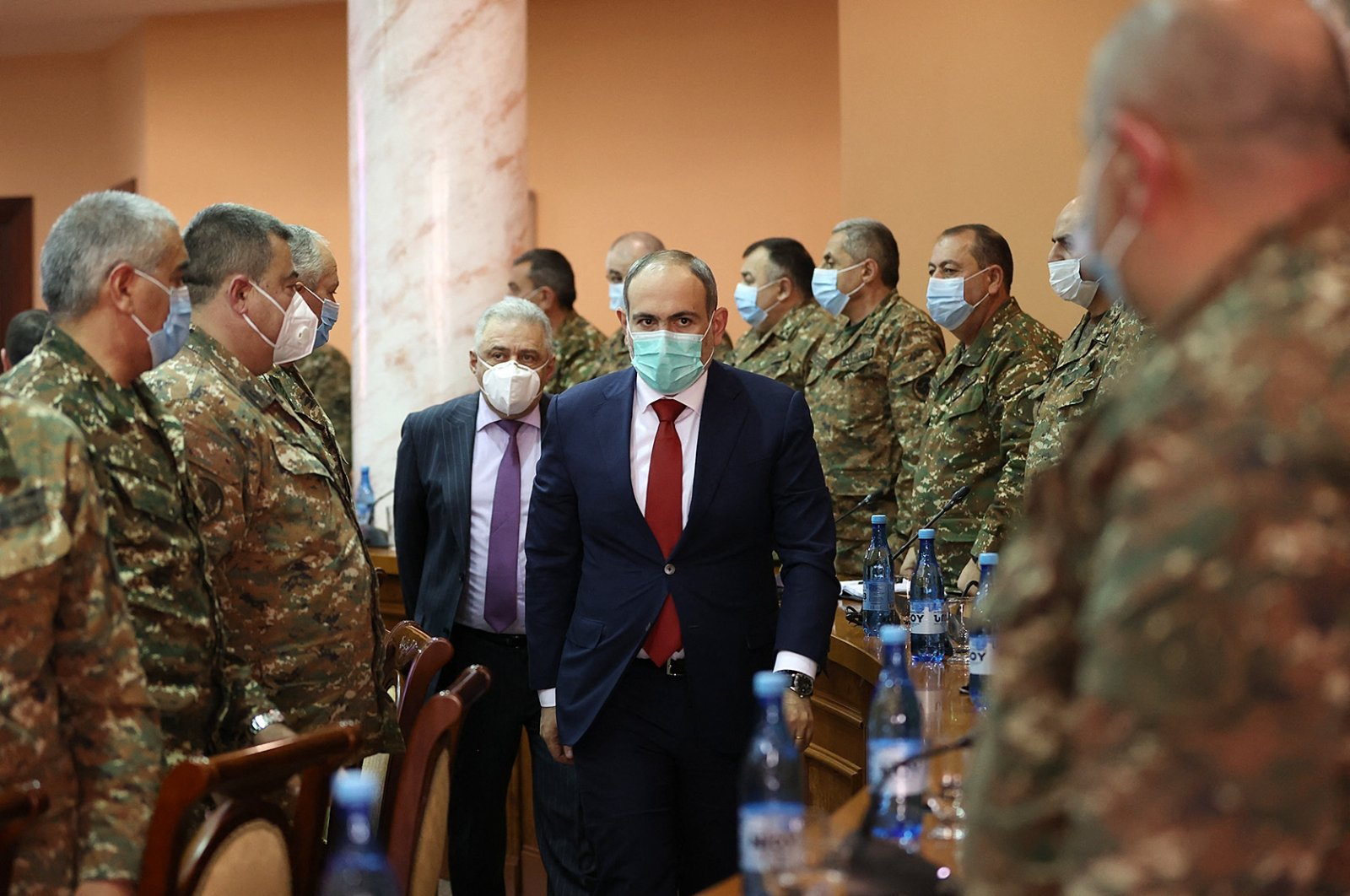 Armenian Prime Minister Nikol Pashinyan meets with top military officers in Yerevan, Armenia, March 10, 2021. ( Armenian Government via AFP)