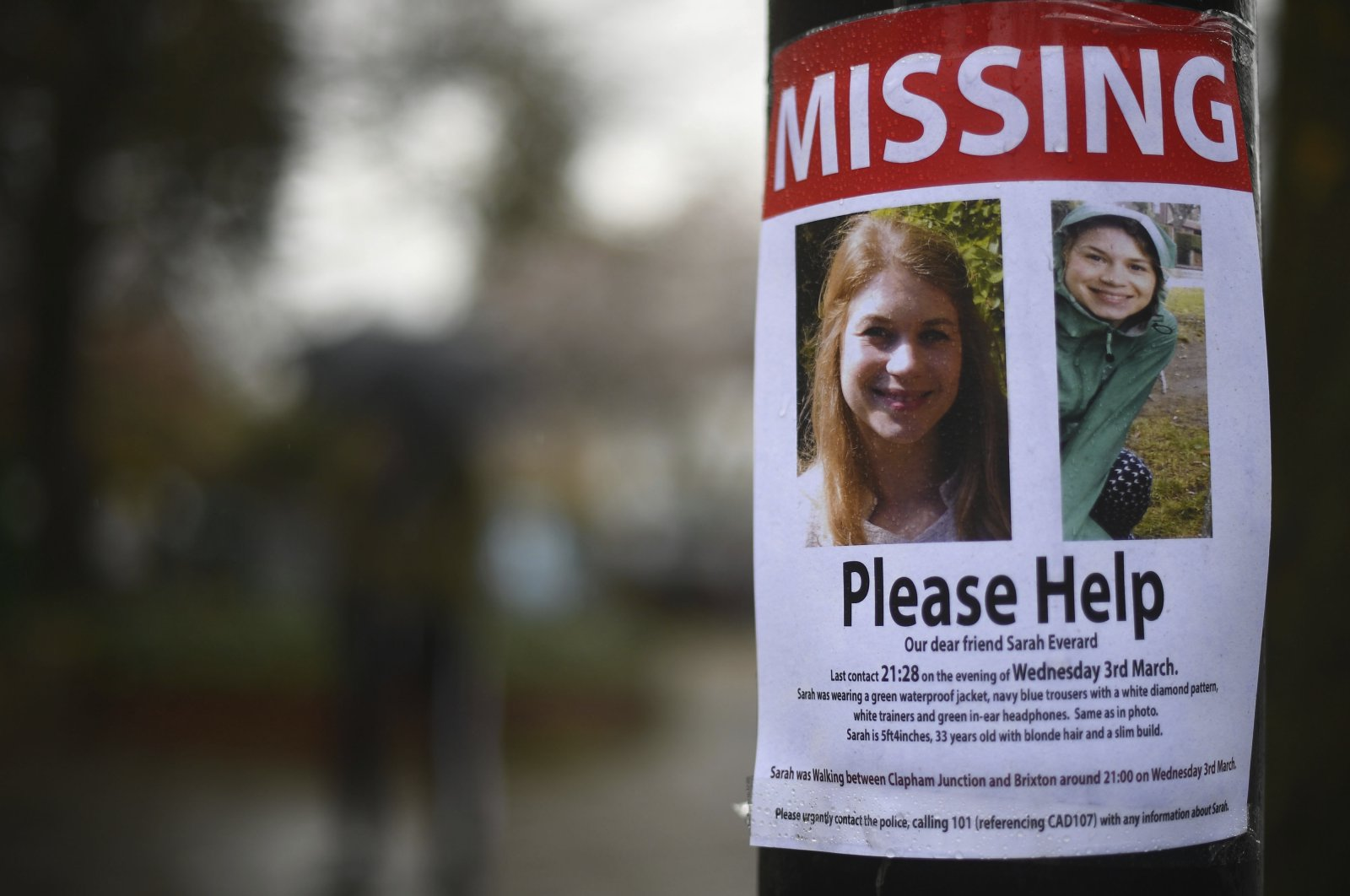 A missing sign outside Poynders Court on the A205 in Clapham, London Wednesday March 10, 2021 during the continuing search for Sarah Everard who has been missing for a week. (AP Photo)