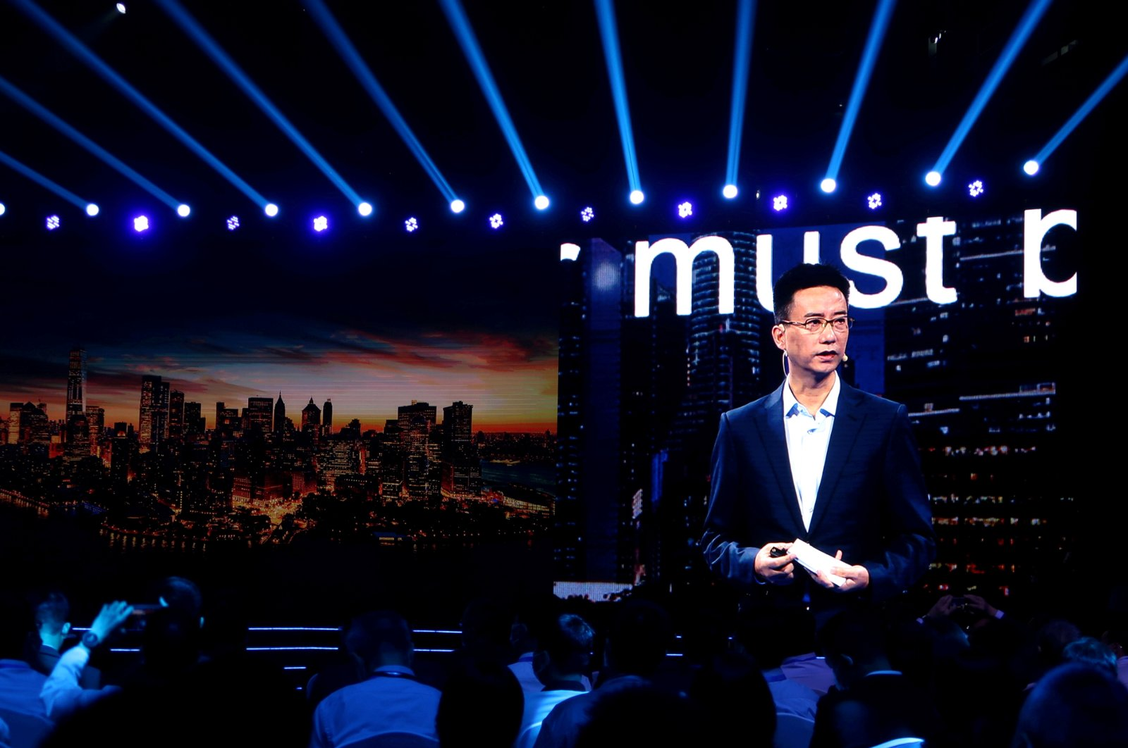 Simon Hu, CEO of Ant Group, is seen on a giant screen as he delivers a speech at the INCLUSION Fintech Conference in Shanghai, China, Sept. 24, 2020. (Reuters Photo)