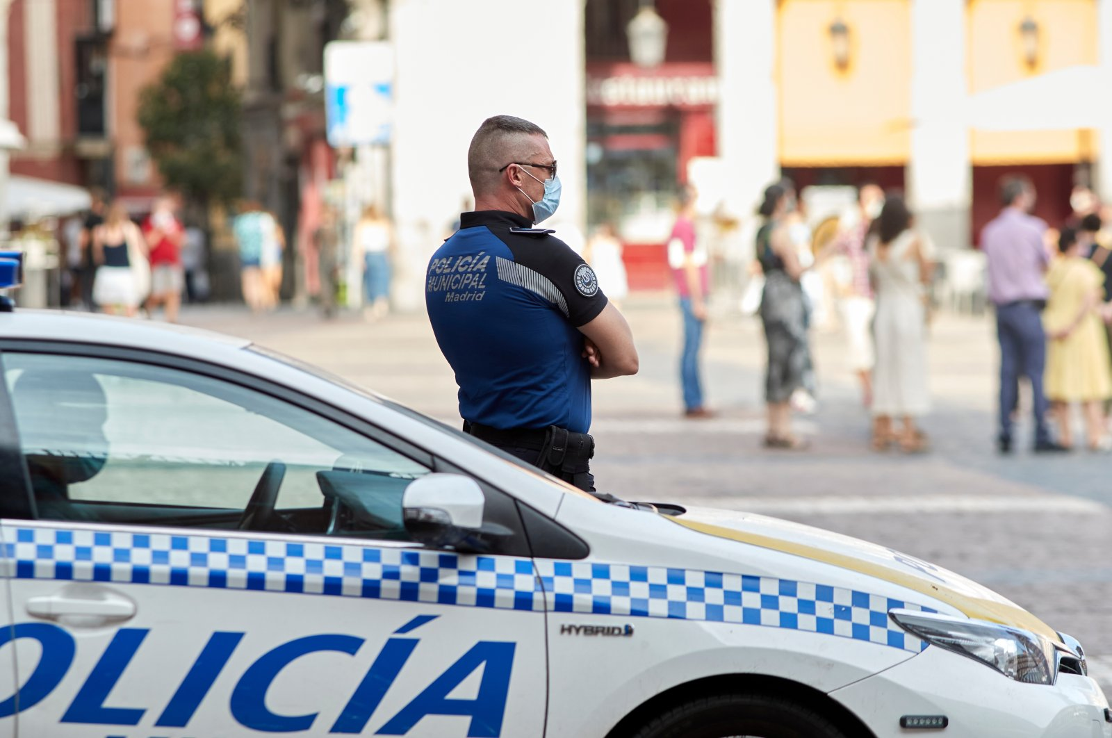 Municipal police patrols during the COVID-19 pandemic in Madrid, Spain, August 8, 2020. (Shutterstock Photo)