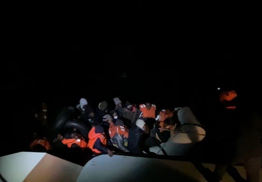 Turkish  Coast Guard saves 34 asylum seekers in the storm on March 13, 2021. (AA Photo)