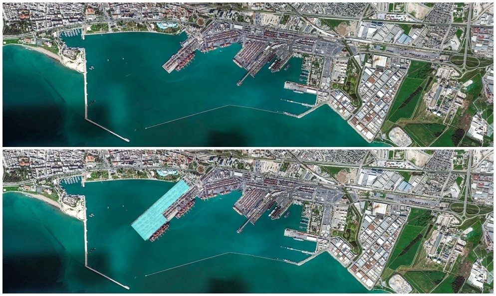 Two satellite pictures provided by the Mersin International Port (MIP) show the planned expansion area, March 12, 2021. (AA Photo)