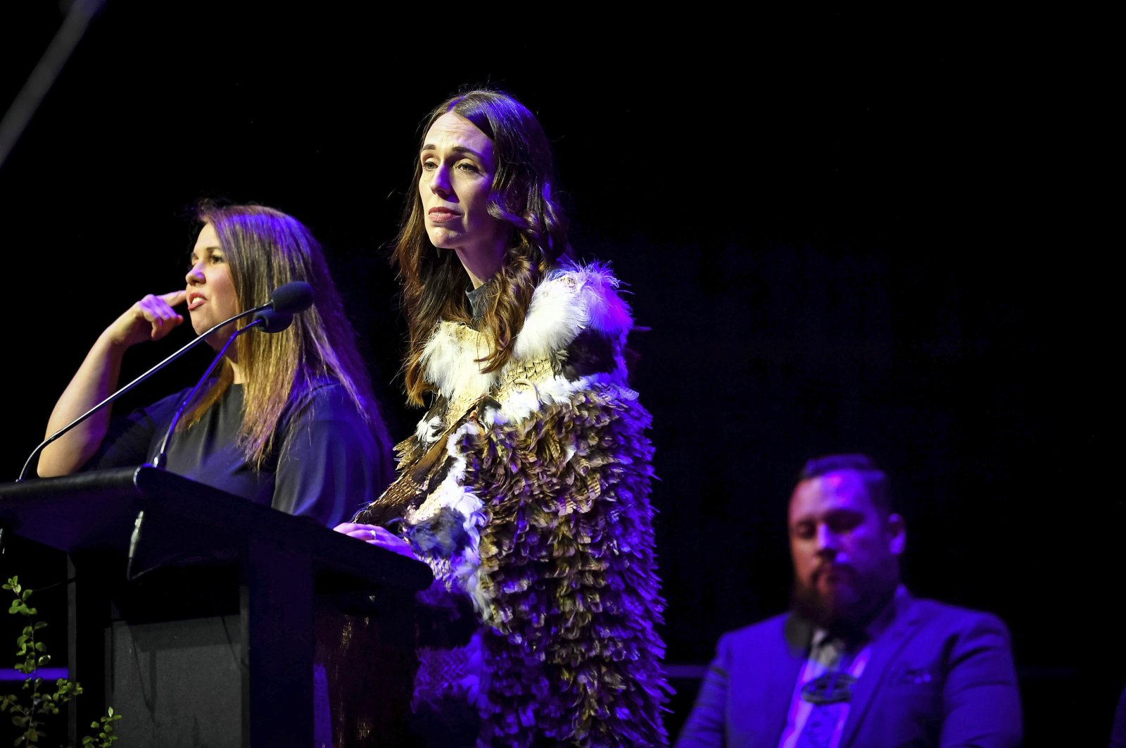 New Zealand's Prime Minister Jacinda Ardernspeaks at a National Remembrance Service, Saturday, March 13, 2021, in Christchurch, New Zealand. (Department of Internal Affairs via AP)