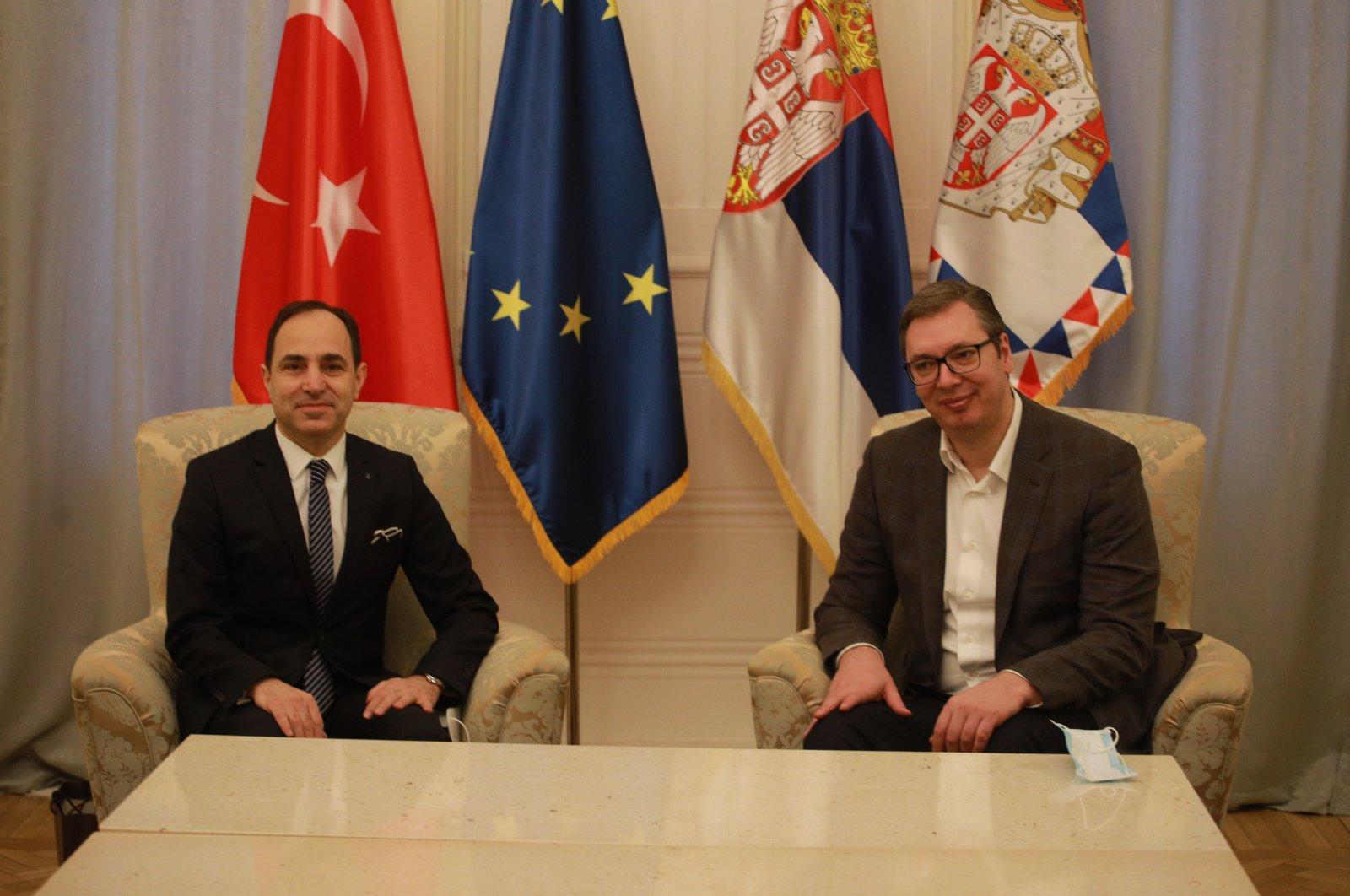 Turkish Ambassador to Belgrade Tanju Bilgiç (L) in a meeting with Serbian President Aleksandar Vucic, Belgrade, March 9, 2021. (AA Photo)