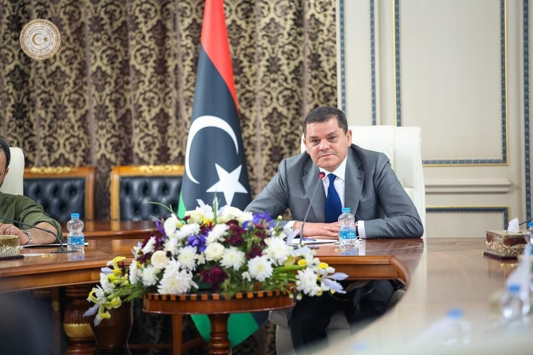 Libyan Prime Minister Abdul Hamid Dbeibah heads the first Cabinet meeting of the interim government, Tripoli, Libya, March 14, 2021. (IHA)