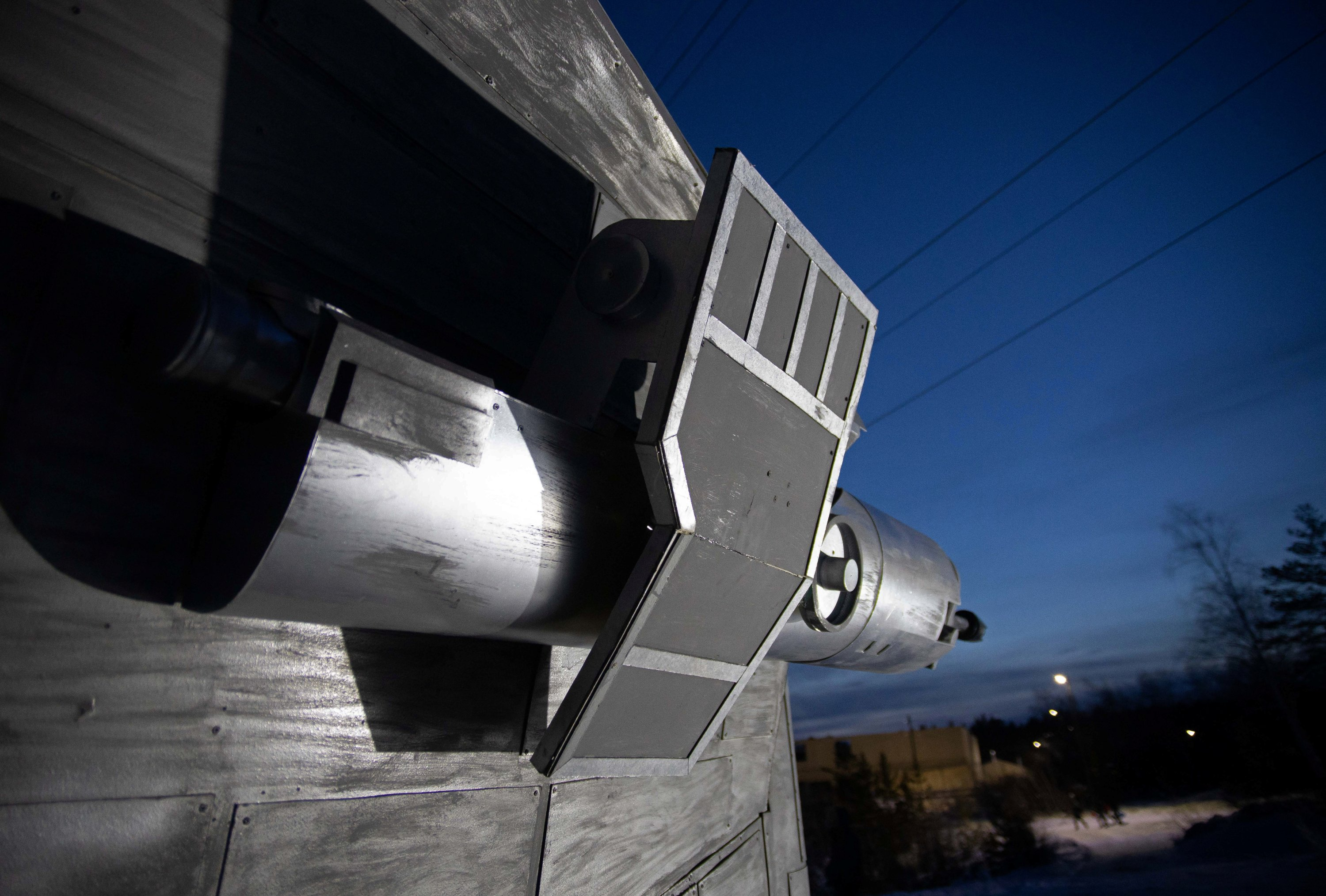 A view shows the mock-missile weaponry attached to a replica of the Razor Crest gunship from the Mandalorian Disney  TV series, built by science fiction fans in Yakutsk, Russia, March 10, 2021. (Reuters Photo)