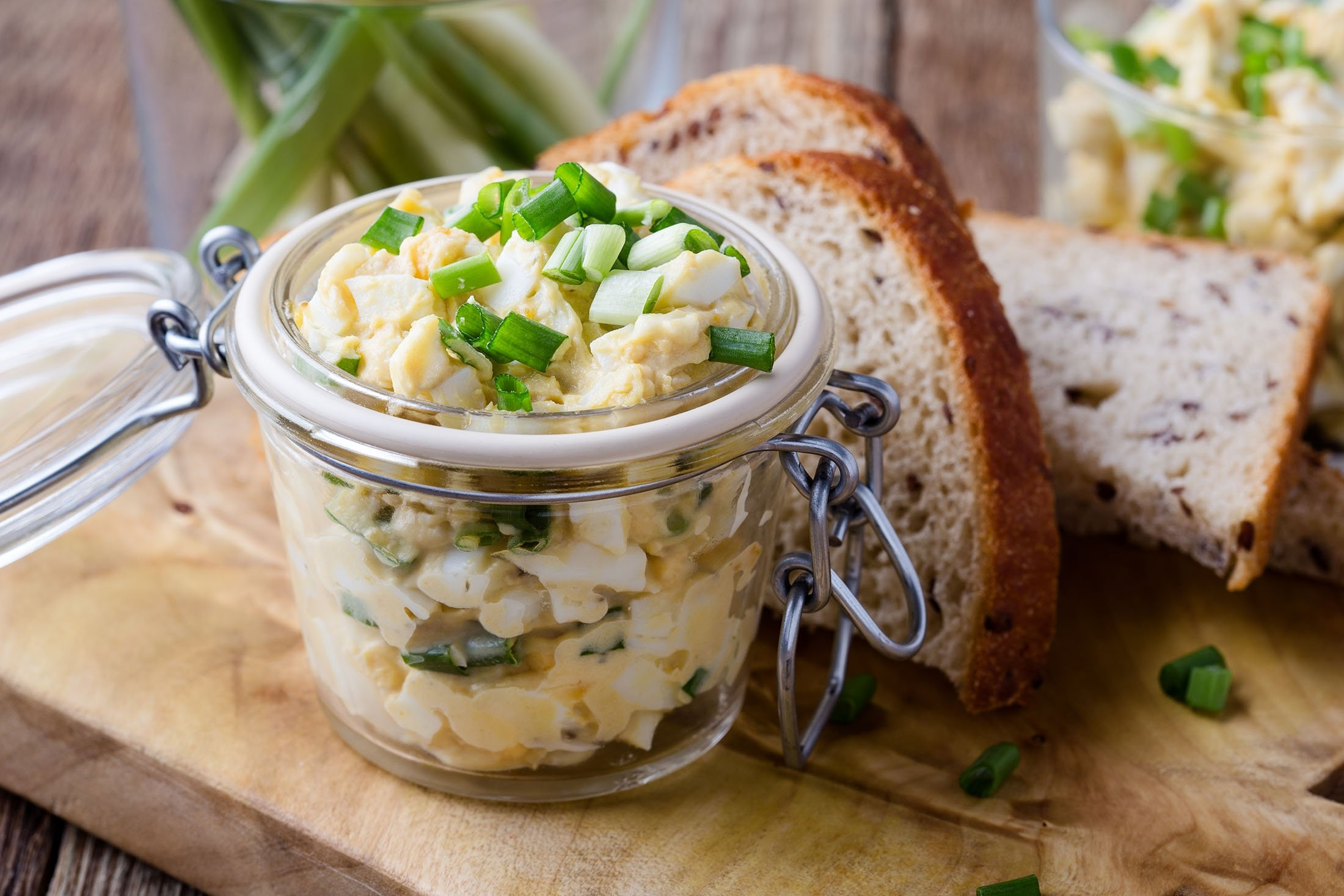If you add a bit of mayonnaise to your spring onion egg salad, you can make a great sandwich spread. (Shutterstock Photo)