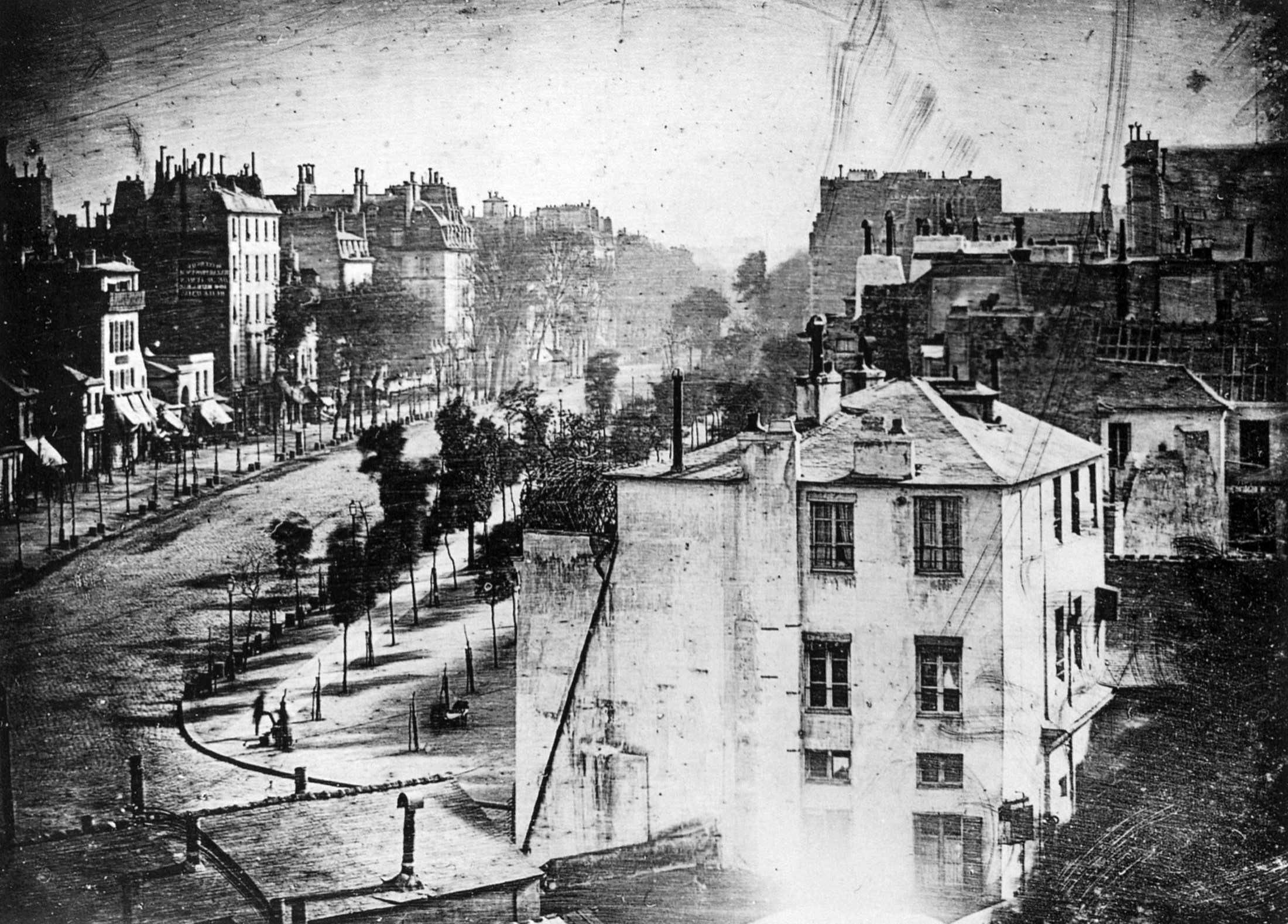 'Boulevard du Temple' by French photographer Louis Daguerre, scanned from The Photography Book, Phaidon Press, London, 1997. (via WIKIMEDIA COMMONS)