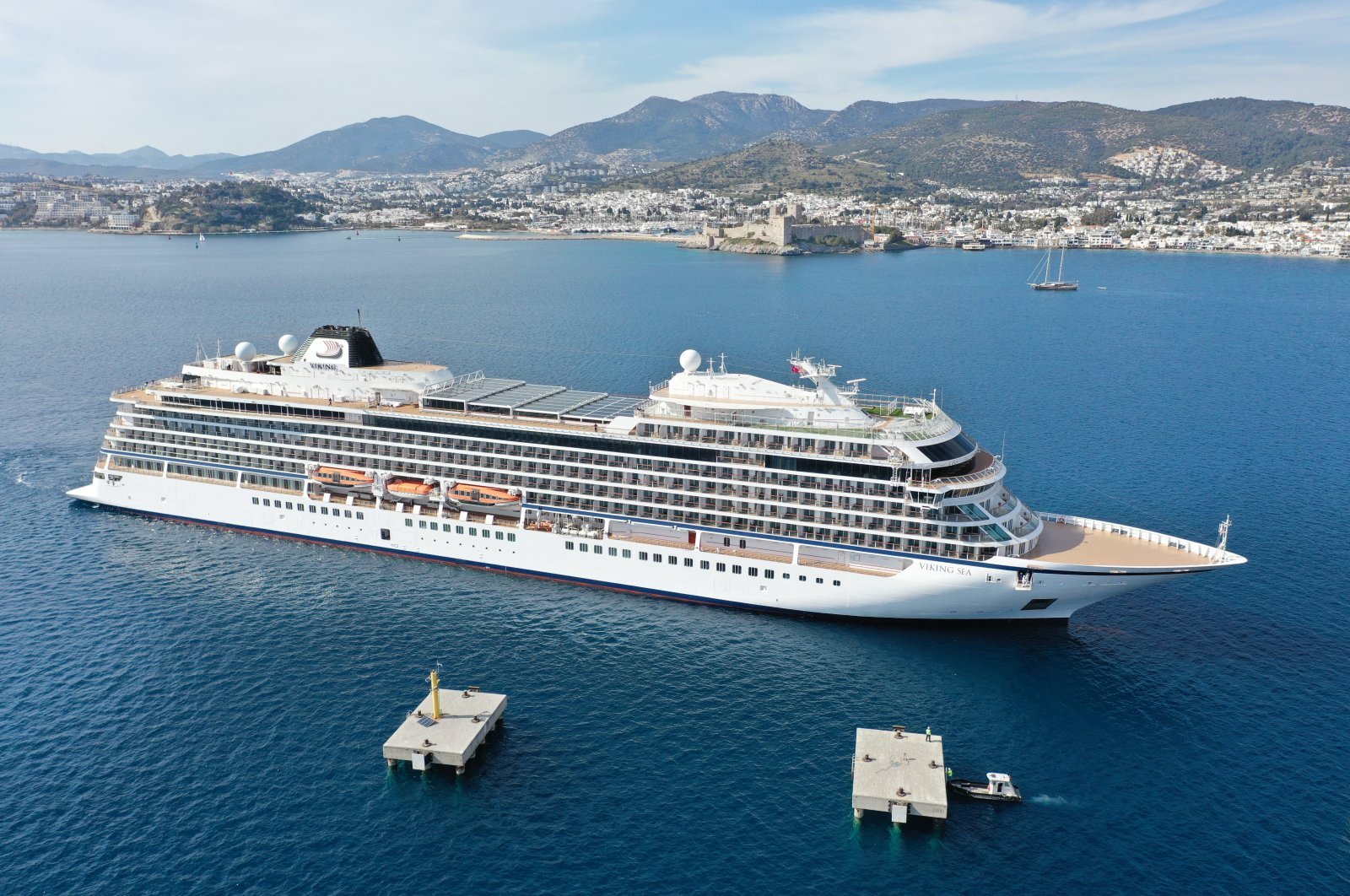 The Viking Sea cruise ship arrives in theBodum district ofsouthwestern Muğla province, Turkey, March 13, 2021. (AA Photo)