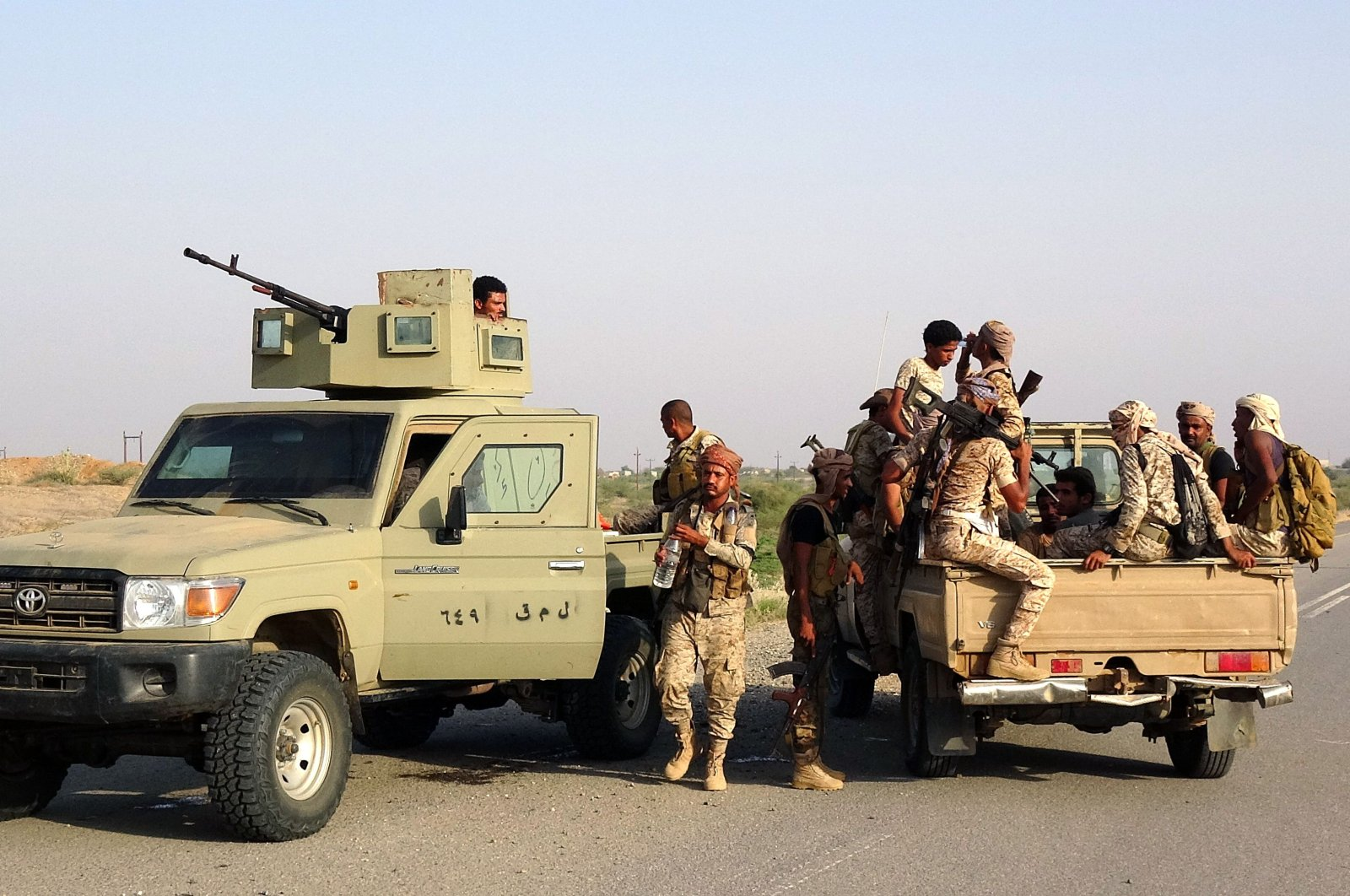 Forces loyal to Yemen's Saudi-backed government enter the Abs district of the northwestern Hajjah province, Yemen, March 11, 2021. (AFP Photo)