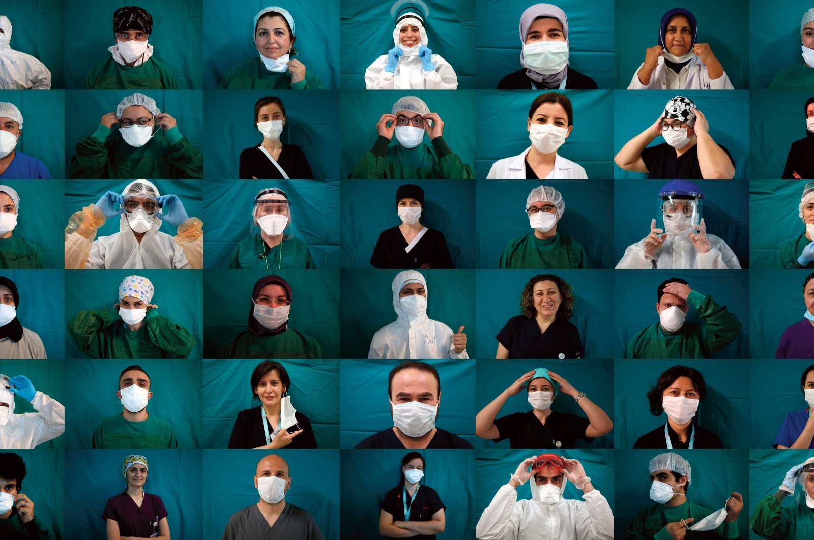 Several healthcare workers pose for a collage to mark Turkey's national Medicine Day in Bursa, Turkey, March 14, 2021. (IHA Photo)