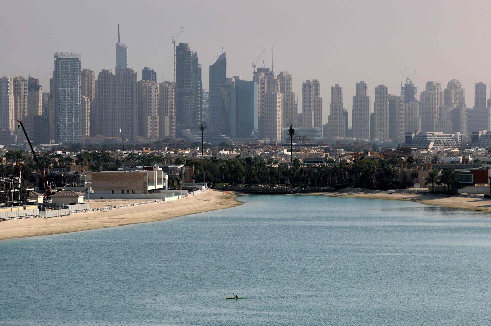 A view of the manmade archipelago of Palm Jumeira, in Dubai, United Arab Emirates (UAE), Feb. 24, 2021. (AFP Photo)