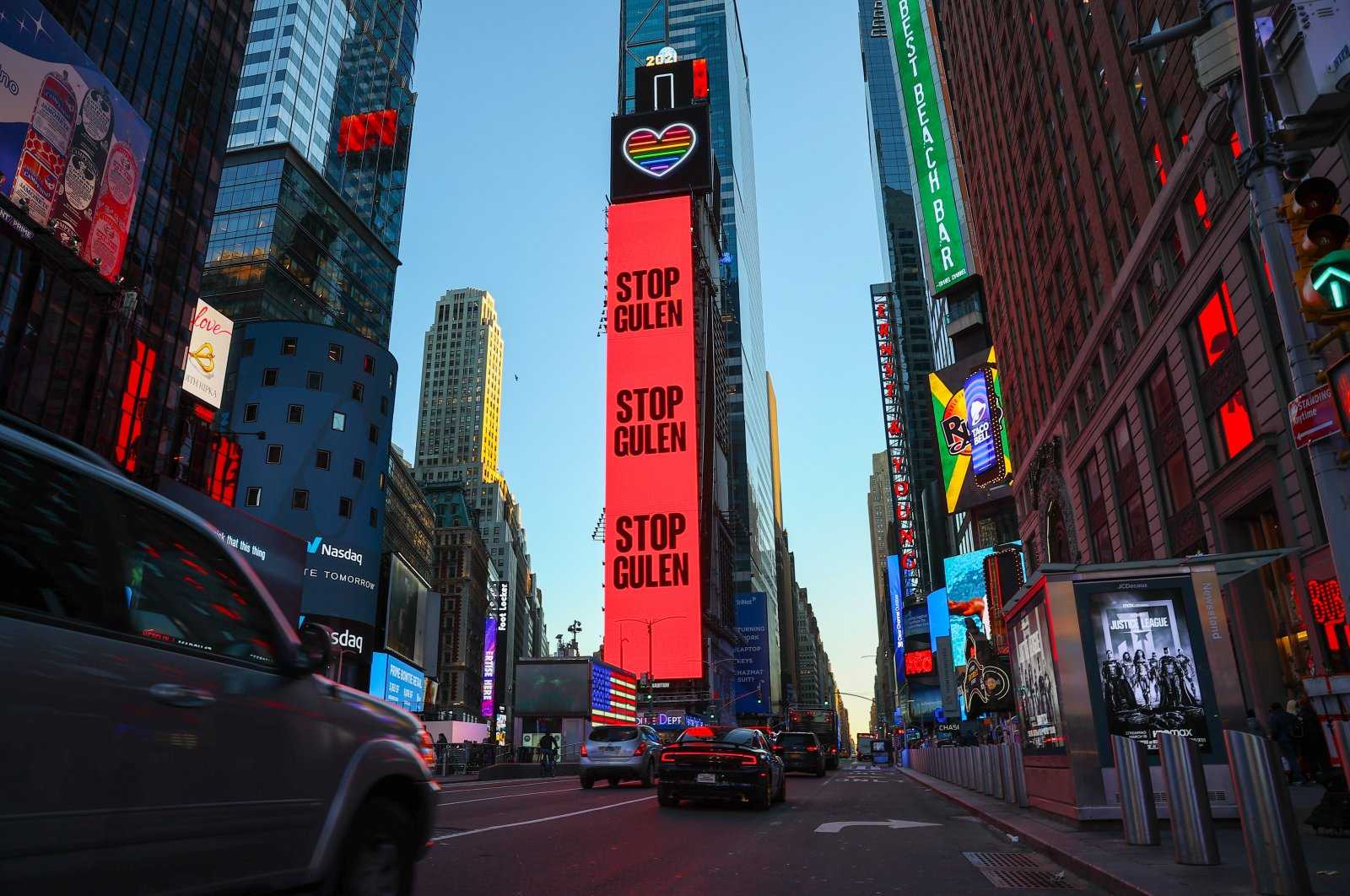 """The """"Stop Gülen"""" ad is seen on digital billboards in Time Square, New York, U.S., March 13, 2021 (AA Photo)"""