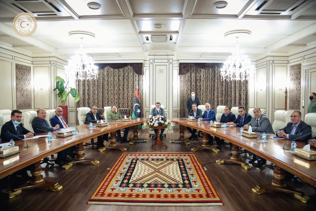 Libya's new interim prime minister, Abdul Hamid Dbeibah, speaks at the first Cabinet meeting in Tripoli, Libya, March 14, 2021. (IHA Photo)