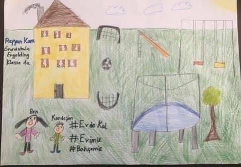 An image that a Turkish child drew for the contest that UID has organized with the title 'Stay at home.' (Photo Courtesy of UID)