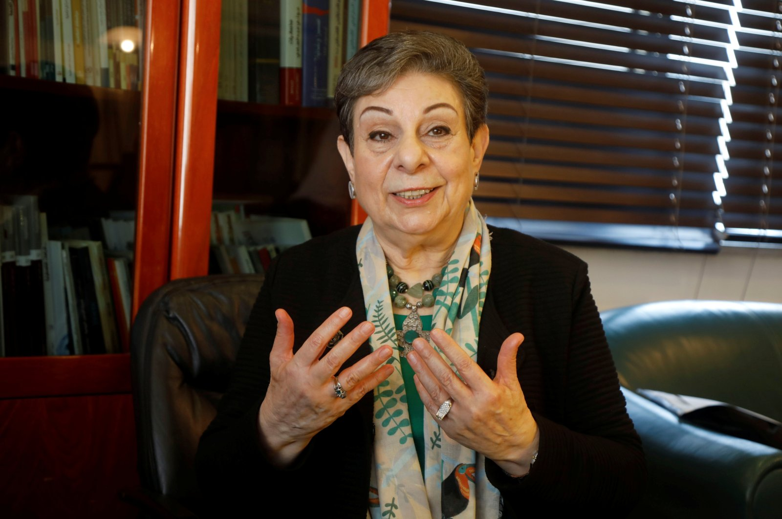 Palestinian politician Hanan Ashrawi gestures during an interview with Reuters, in Ramallah, Israeli-occupied West Bank, Palestine, Feb. 3, 2021. (Reuters Photo)