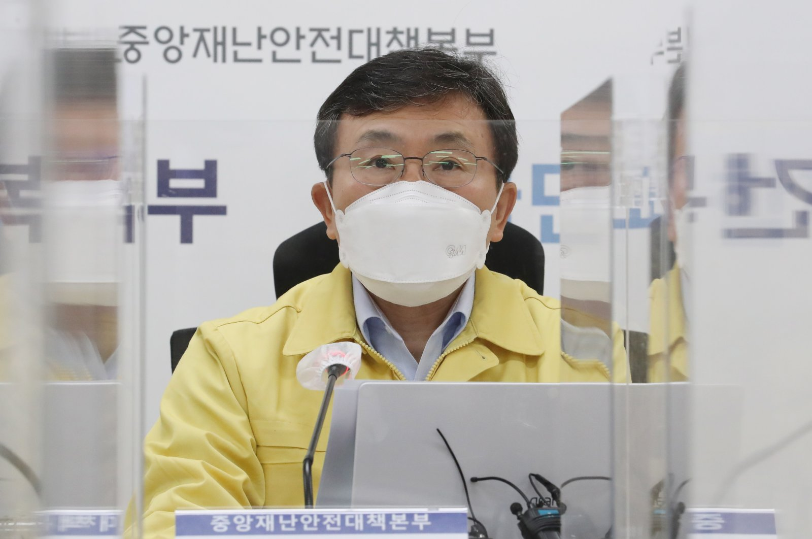 Health and Welfare Minister Kwon Deok-cheol speaks during a meeting of the Central Disaster and Safety Countermeasures Headquarters about measures against the spread of the coronavirus at the government complex in Sejong, South Korea, March 15, 2021.  (EPA)