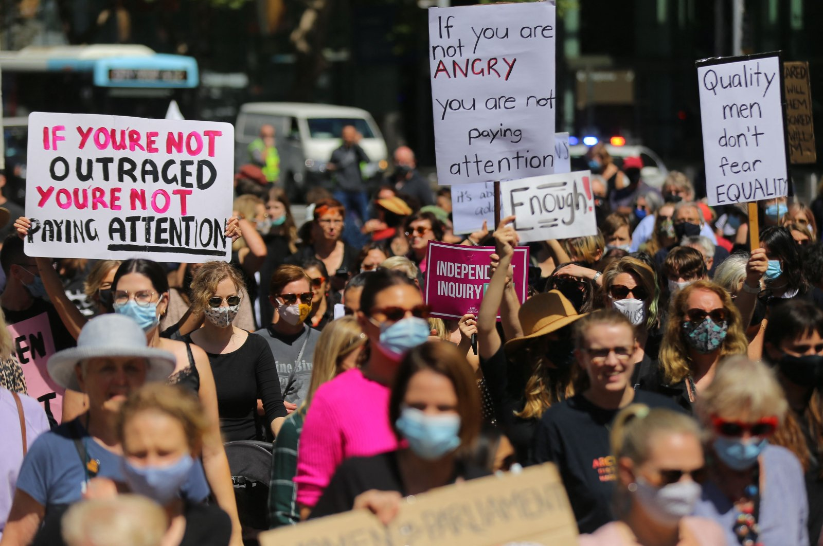 Protesters attend a rally against sexual violence and gender inequality in Sydney, Australia, March 15, 2021. (AFP Photo)