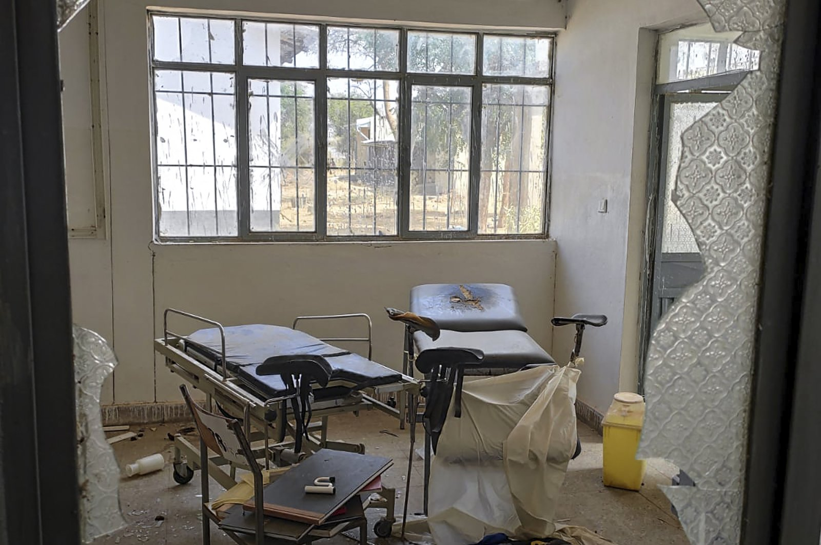 A damaged operating theater is seen through broken glass at a hospital in Sheraro, Tigray region of northern Ethiopia, March 15, 2021. (Medecins Sans Frontieres via AP)
