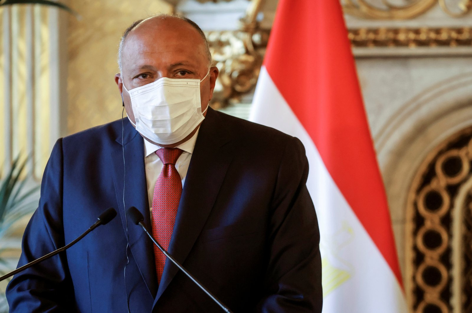 Egyptian Minister of Foreign Affairs Sameh Shoukry, wearing a protective face mask, attends a joint press conference following a meeting on the Middle East Peace process, in Paris, France, March 11, 2021. (Reuters Photo)