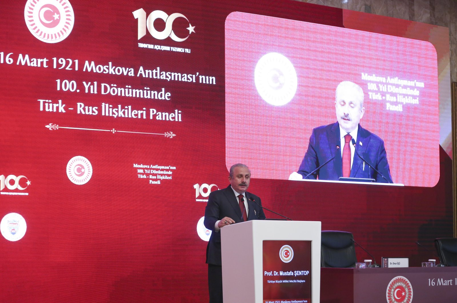 Parliament Speaker Mustafa Şentop addresses the centennial anniversary panel of the Treaty of Brotherhood, also known as the Treaty of Moscow, in the capital Ankara, Turkey, March 15, 2021. (AA Photo)